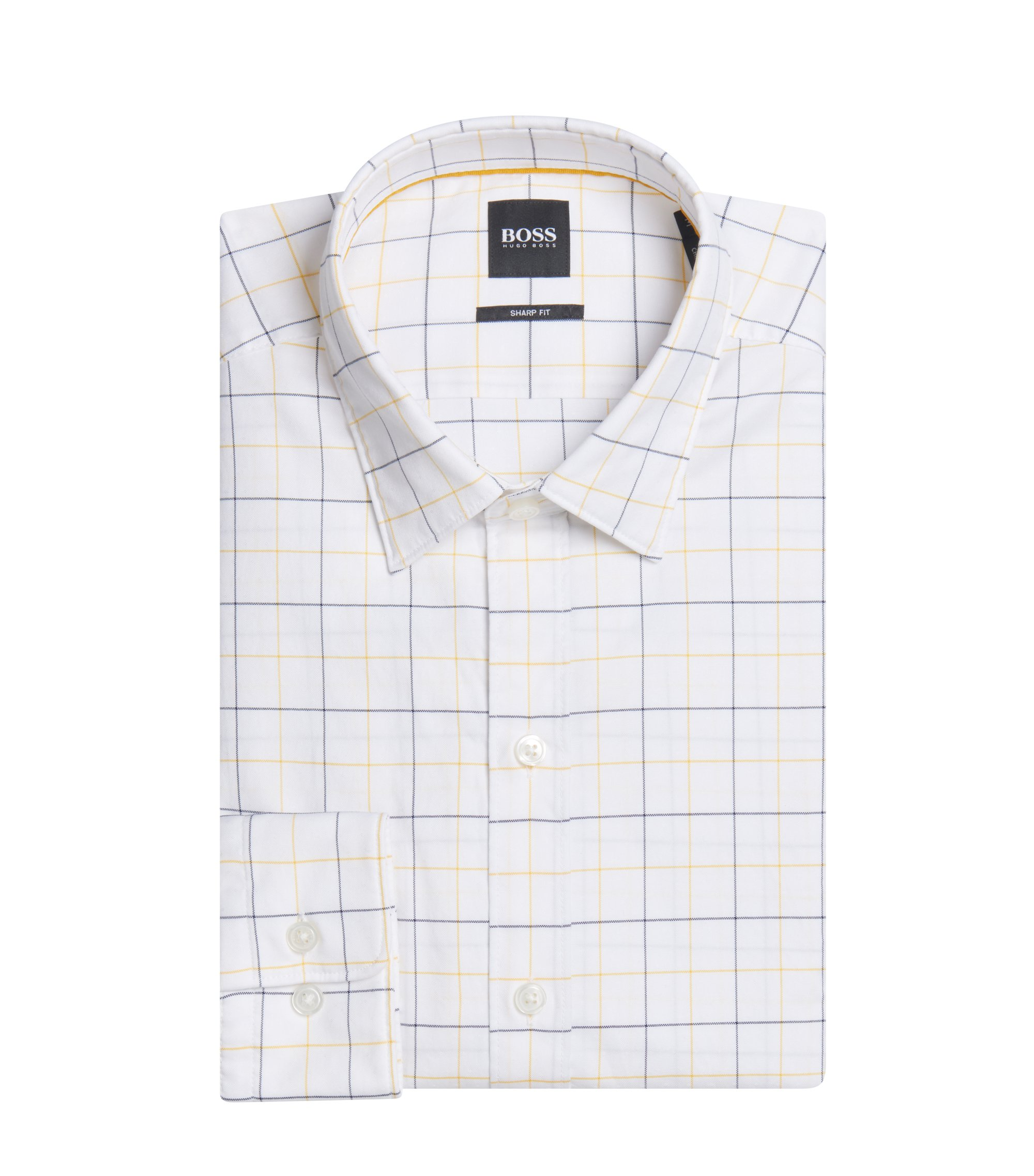 Plaid Cotton Sport Shirt, Sharp Fit  | Robbie, Gold