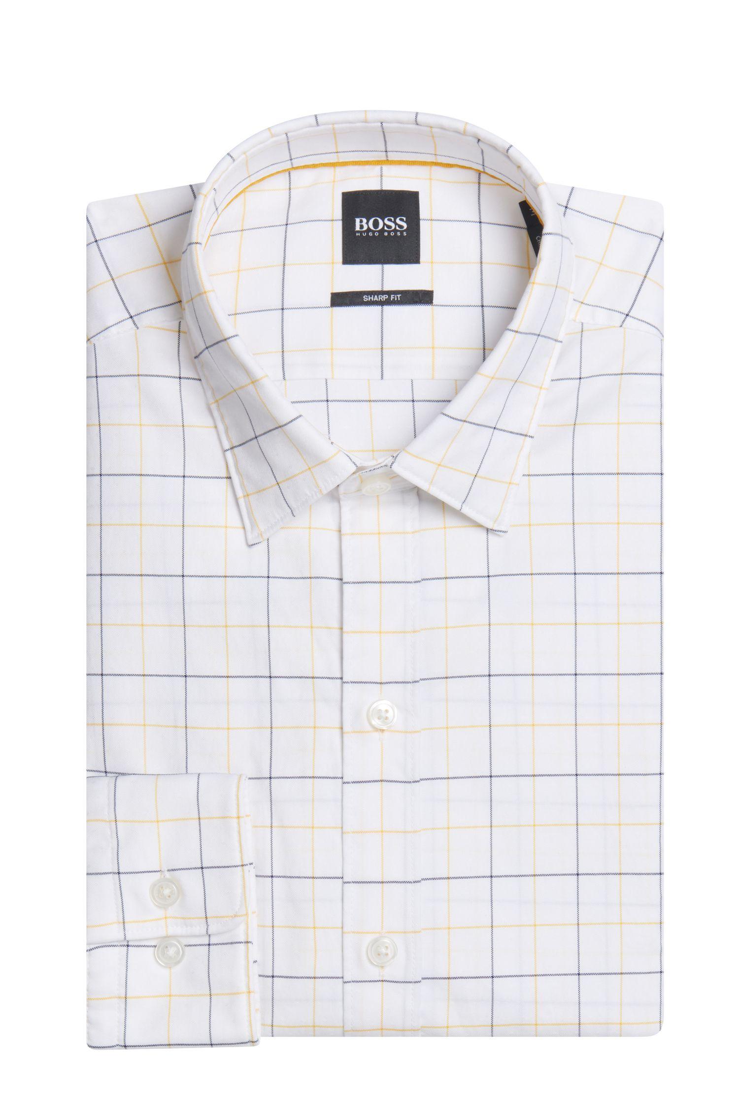Plaid Cotton Sport Shirt, Sharp Fit    Robbie, Gold
