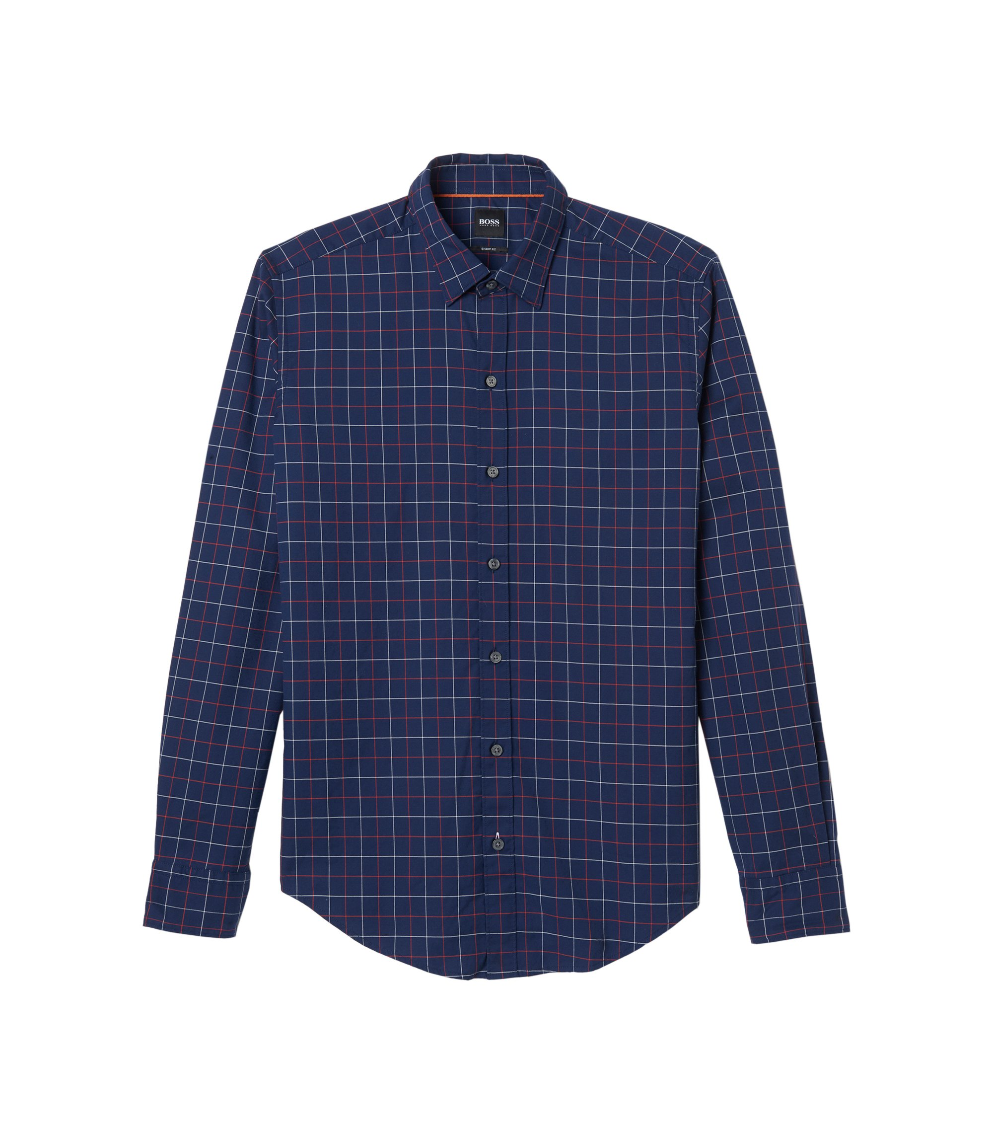 Plaid Cotton Sport Shirt, Sharp Fit  | Robbie, Orange