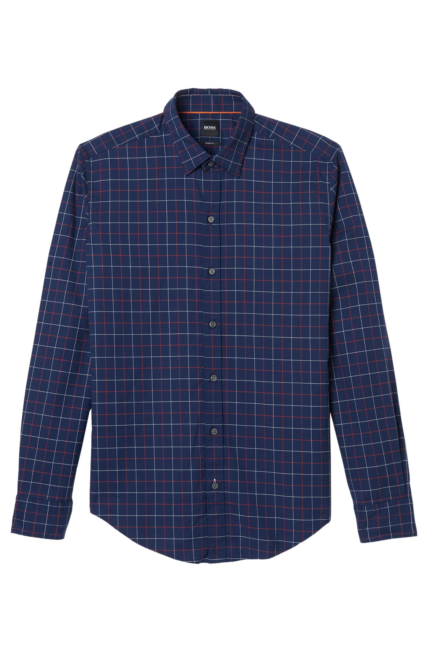 Plaid Cotton Sport Shirt, Sharp Fit  | Robbie