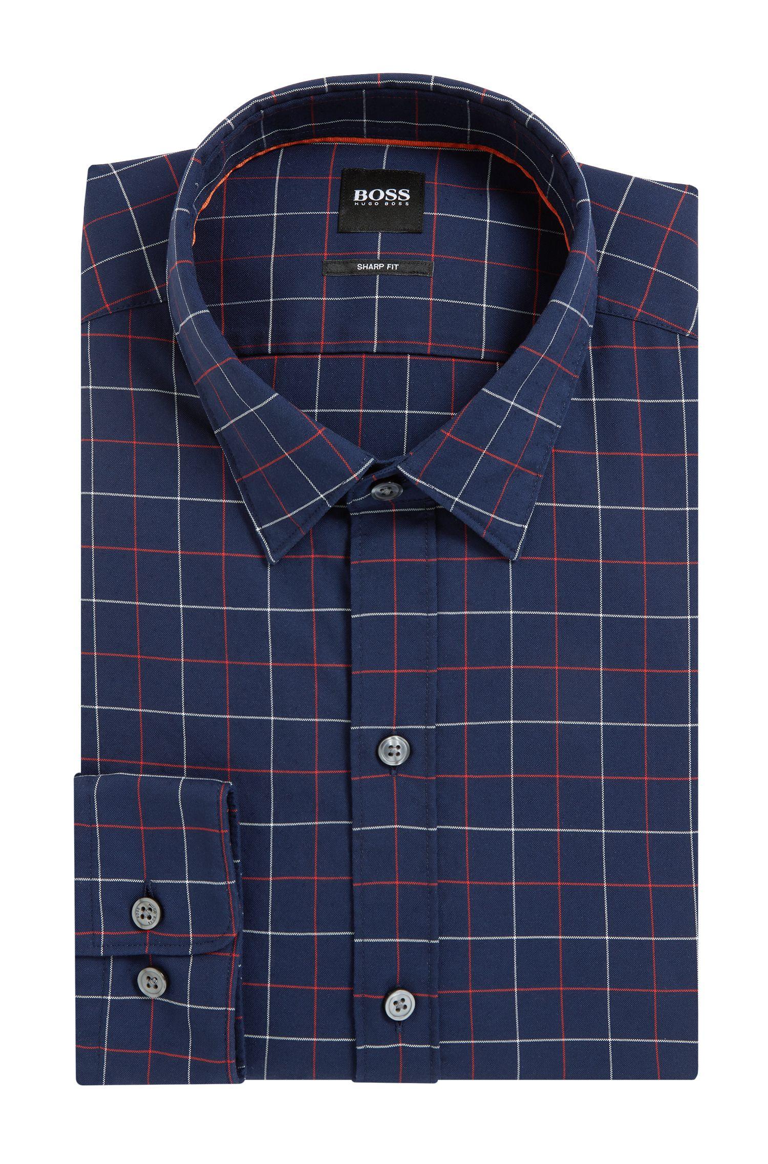 Plaid Cotton Sport Shirt, Sharp Fit  | Robbie