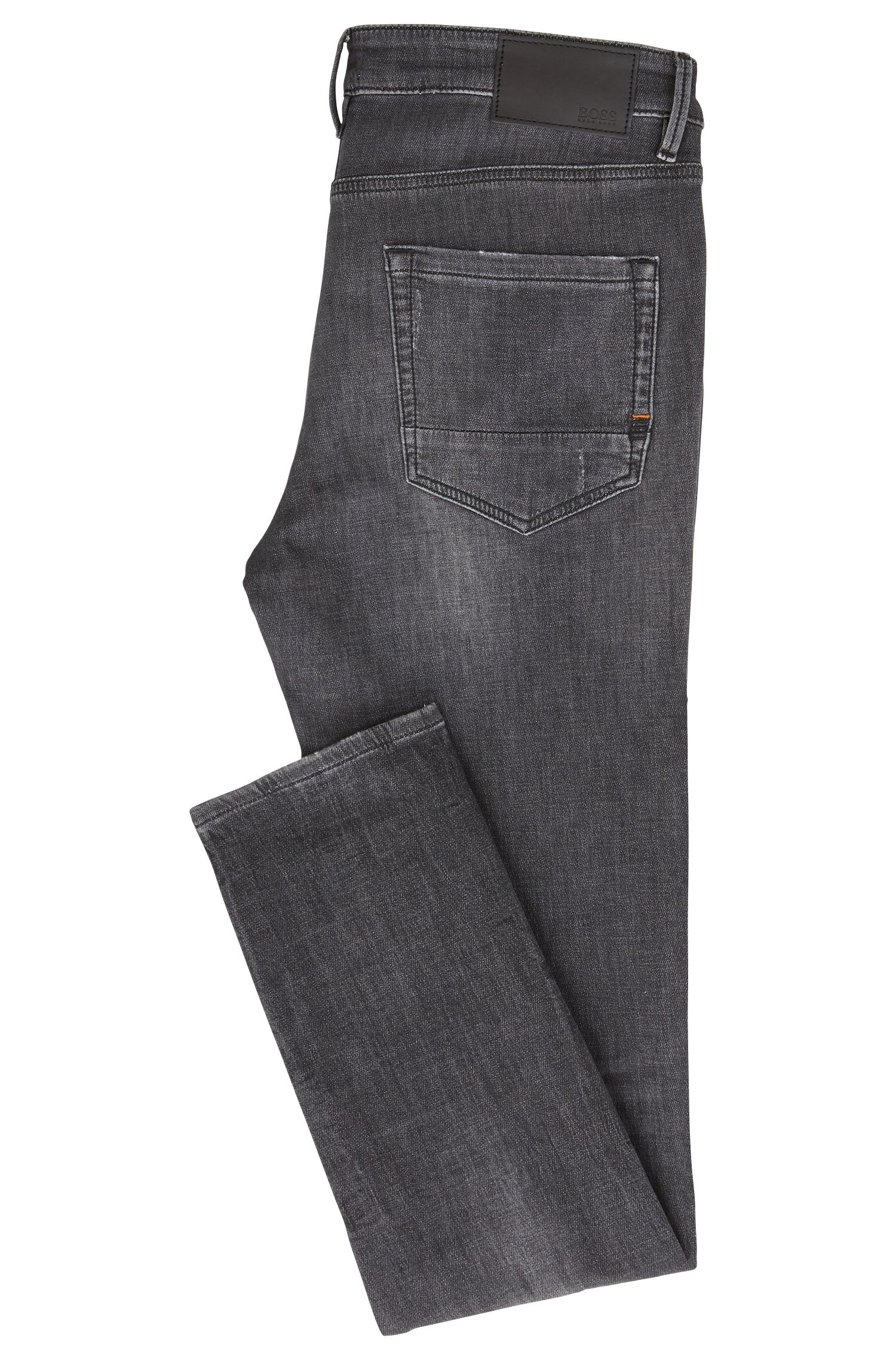 Skinny-fit jeans in gray-knitted stretch denim