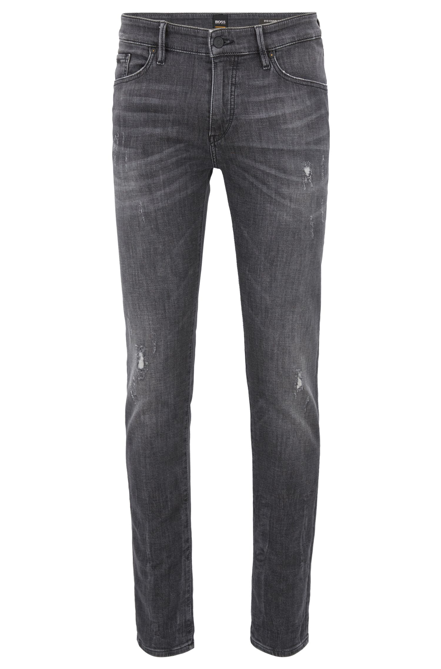 Skinny-fit jeans in gray-knitted stretch denim, Charcoal