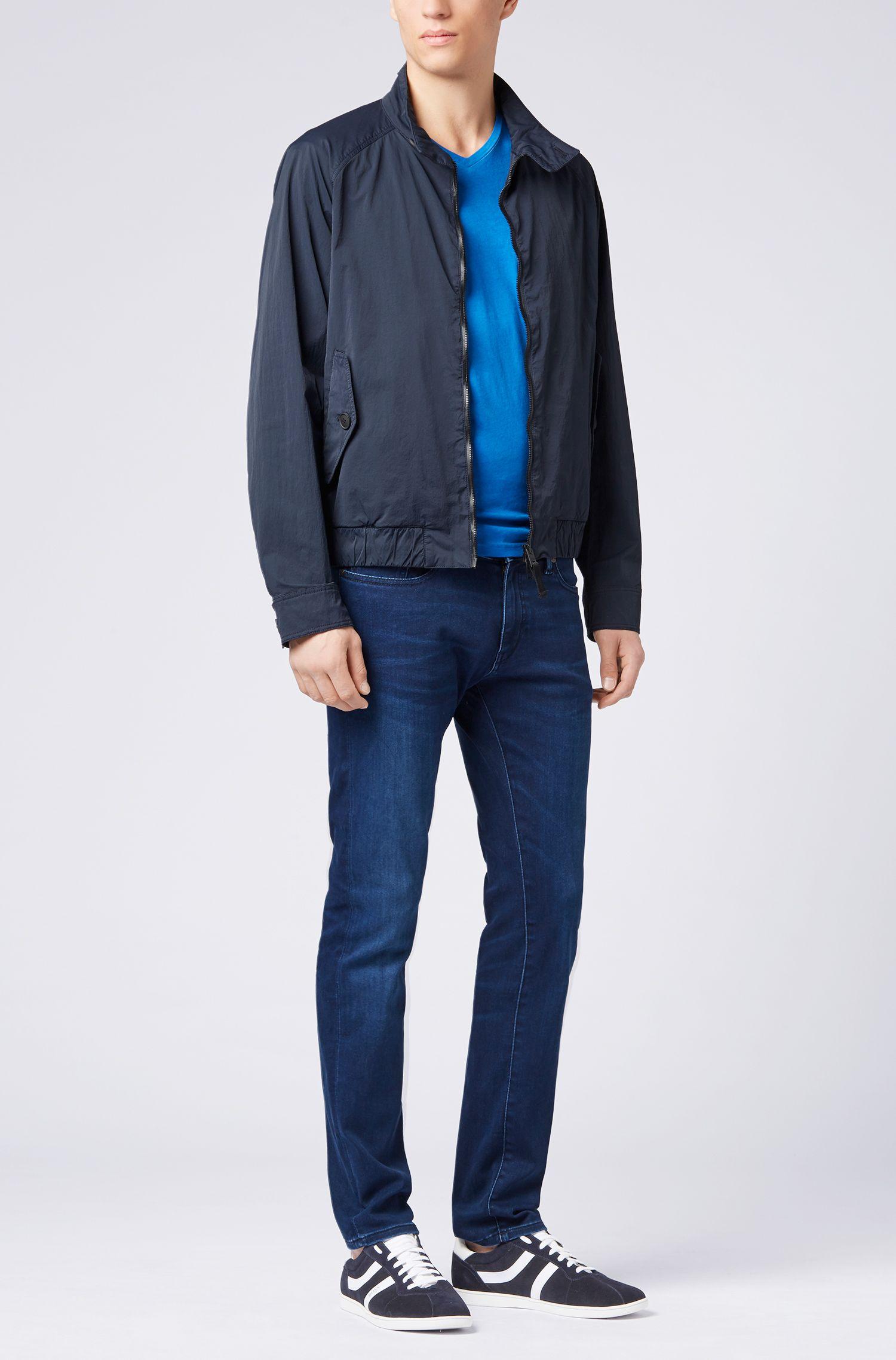 Skinny-fit jeans in super-stretch satin denim, Dark Blue