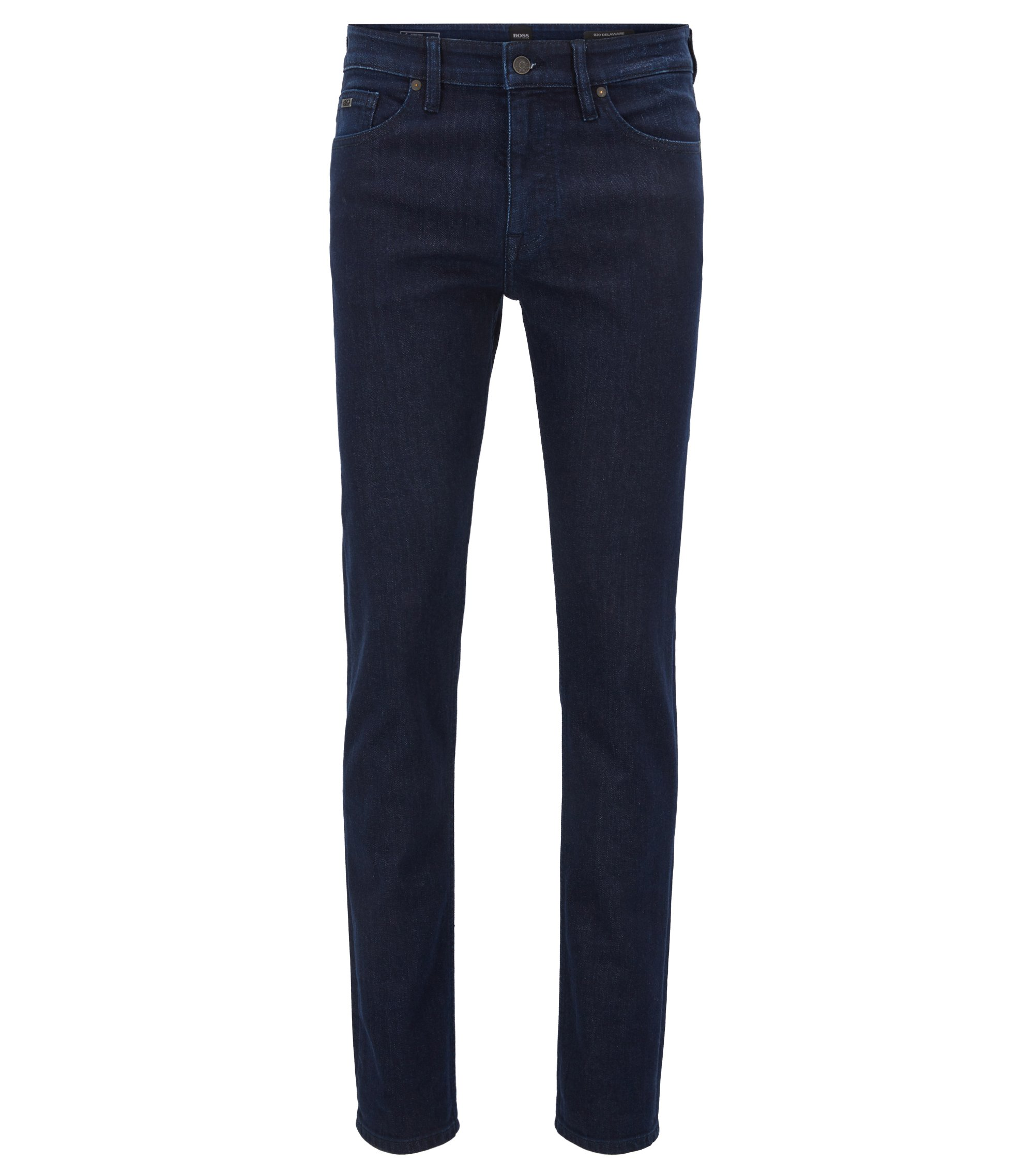 Slim-fit jeans in washed indigo stretch denim, Dark Blue