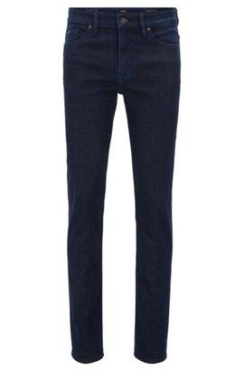 Slim-fit jeans in washed indigo stretch denim, Dark Blue