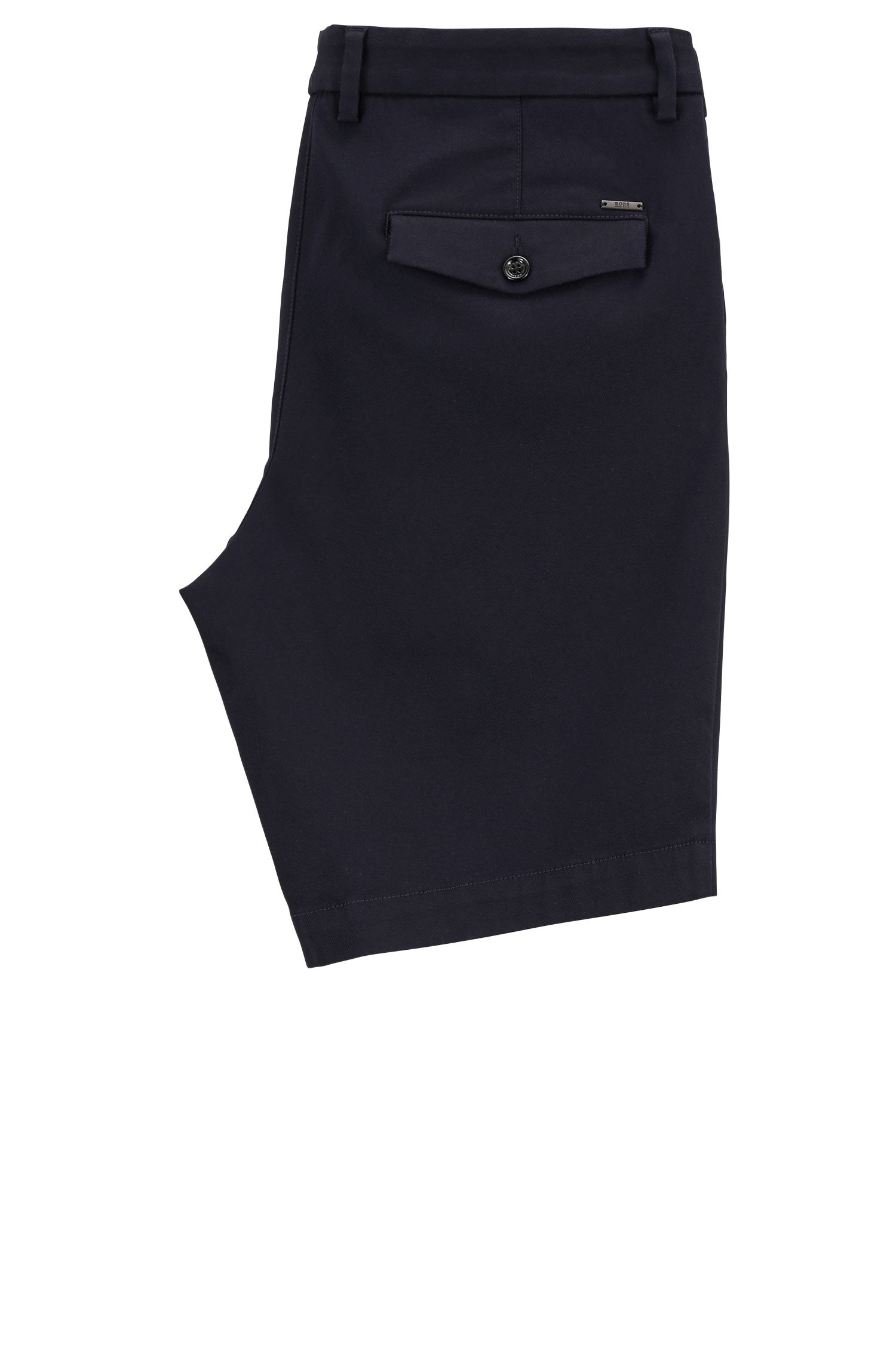 Regular-fit shorts in a structured stretch-cotton blend, Open Blue