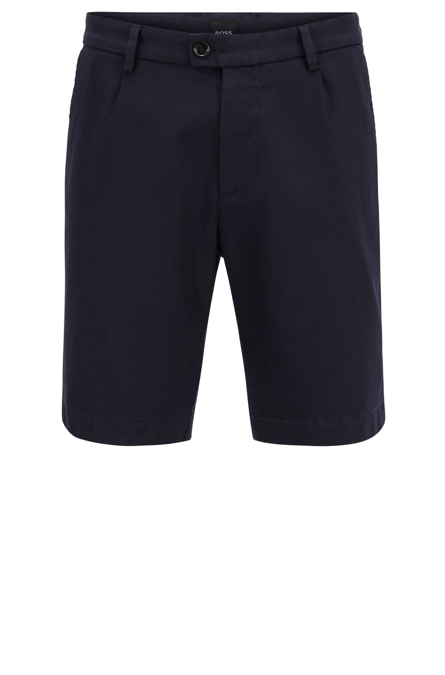 Regular-fit shorts in a structured stretch-cotton blend