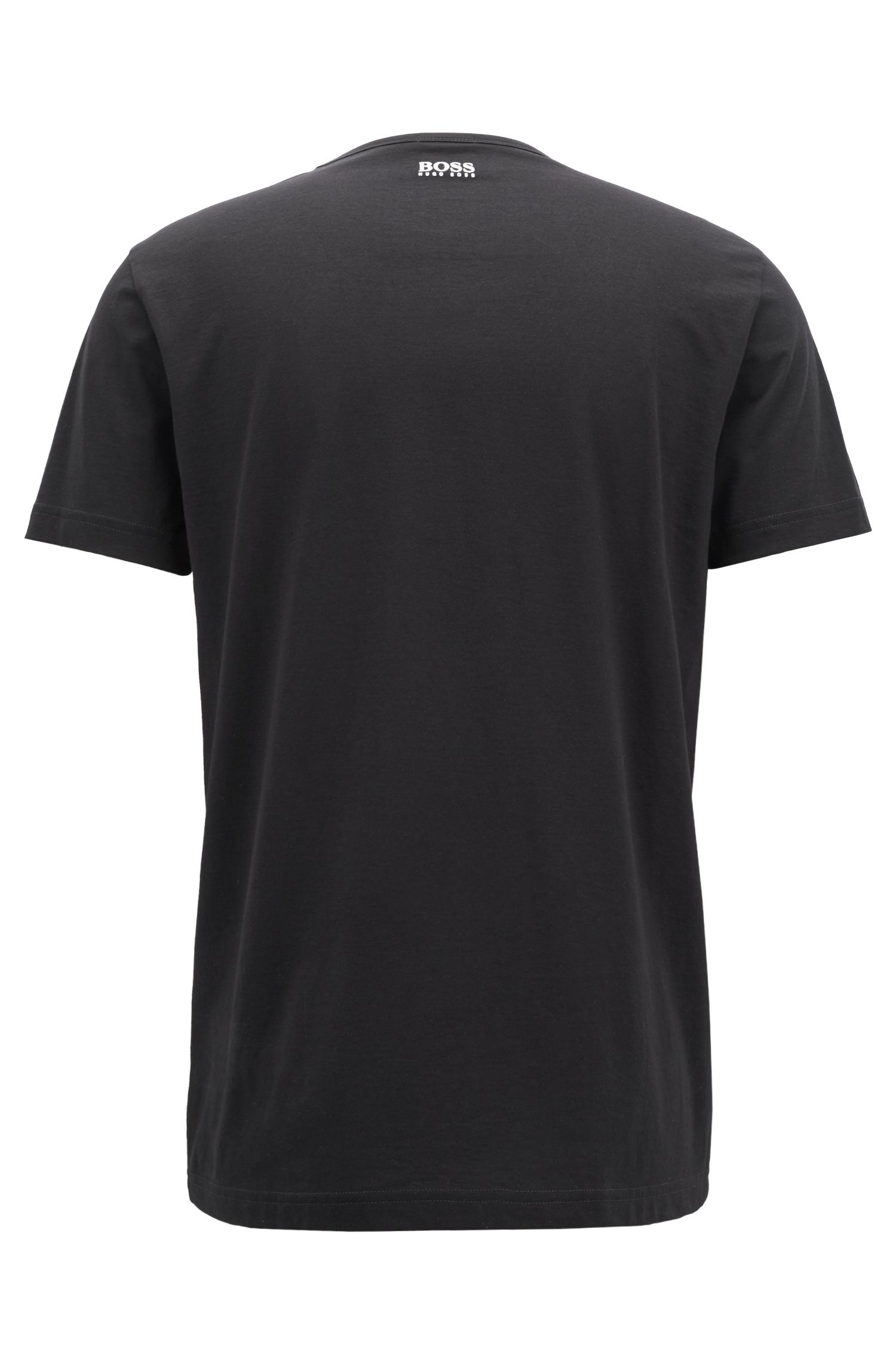 Crew-neck T-shirt in cotton with flock-print logo, Black