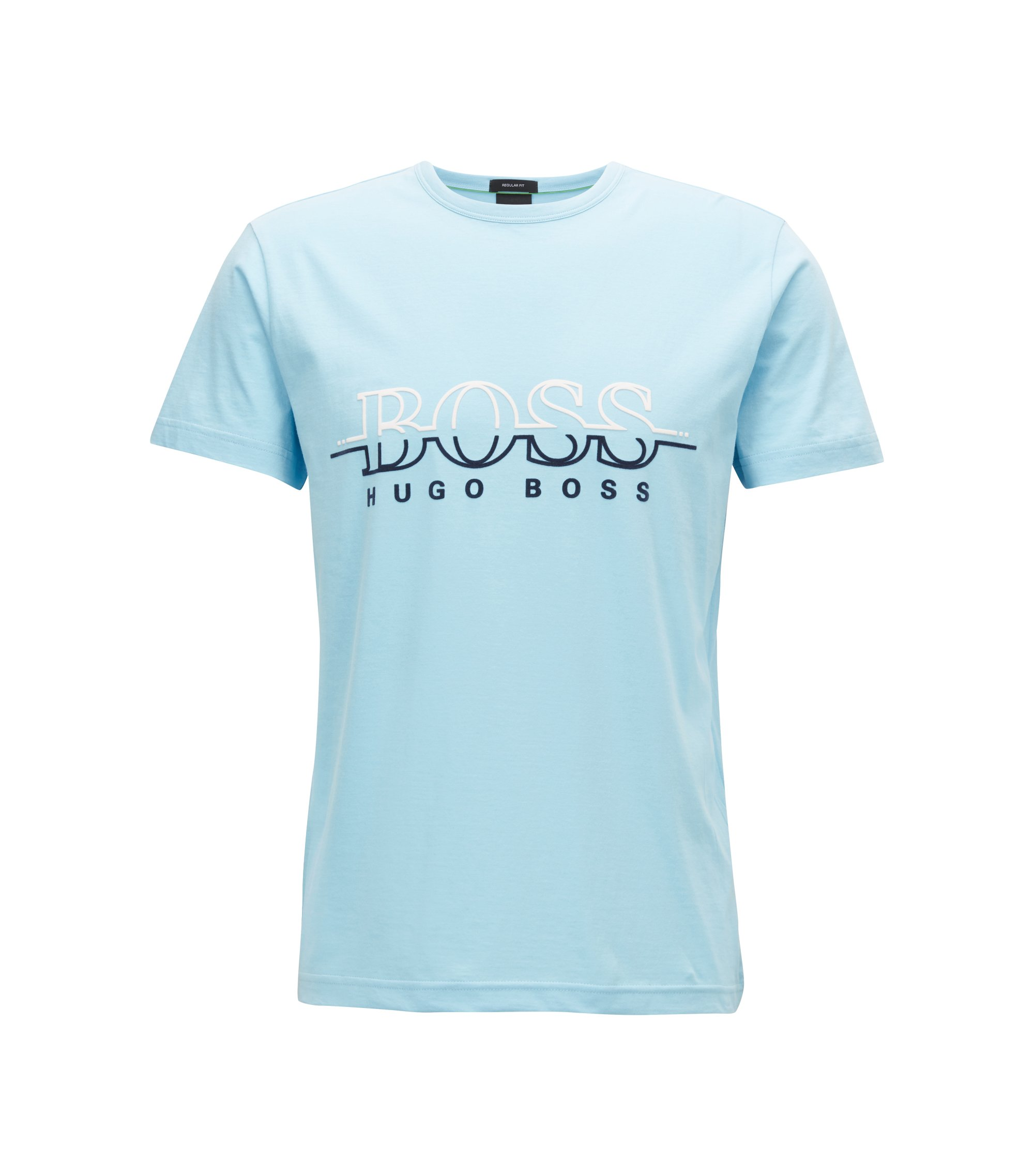 Crew-neck T-shirt in cotton with flock-print logo, Dark Blue