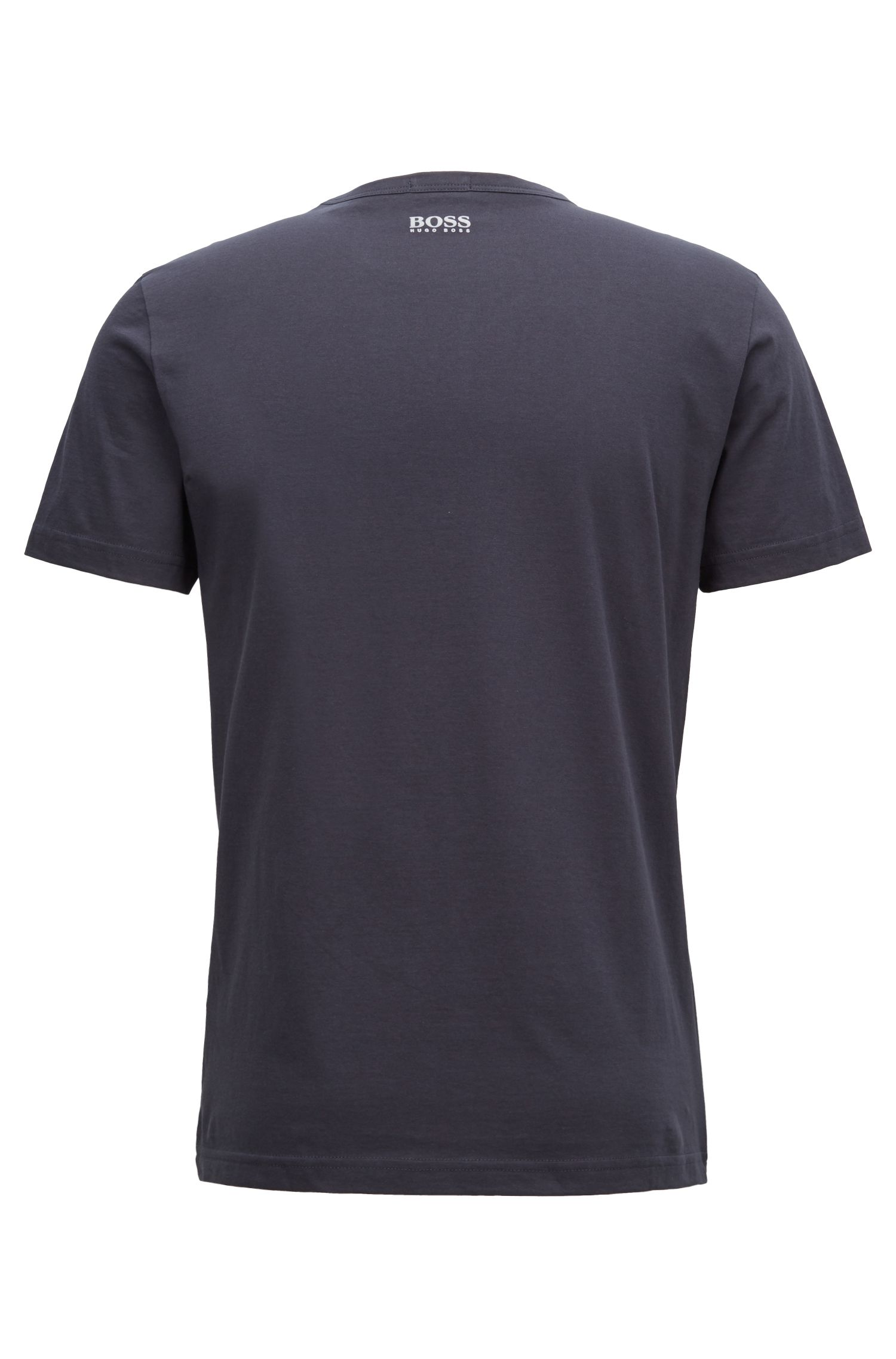 Crew-neck T-shirt in cotton with flock-print logo