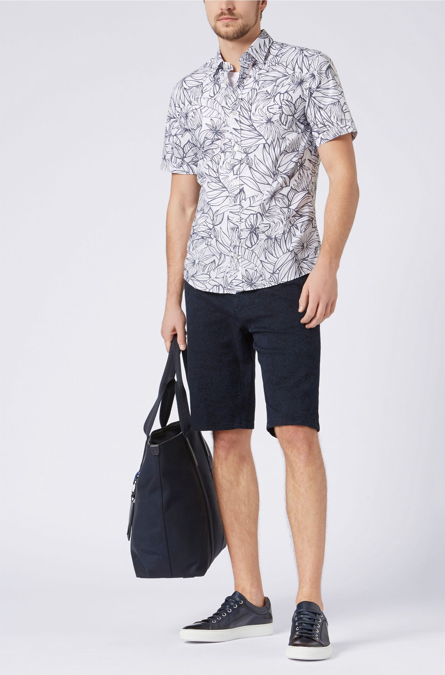 Regular-fit palm-jacquard shorts in stretch fabric