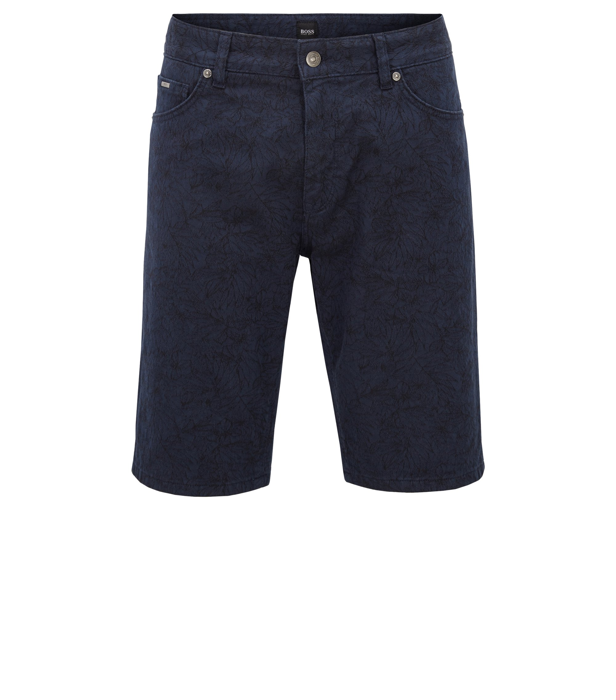 Regular-fit palm-jacquard shorts in stretch fabric, Open Blue