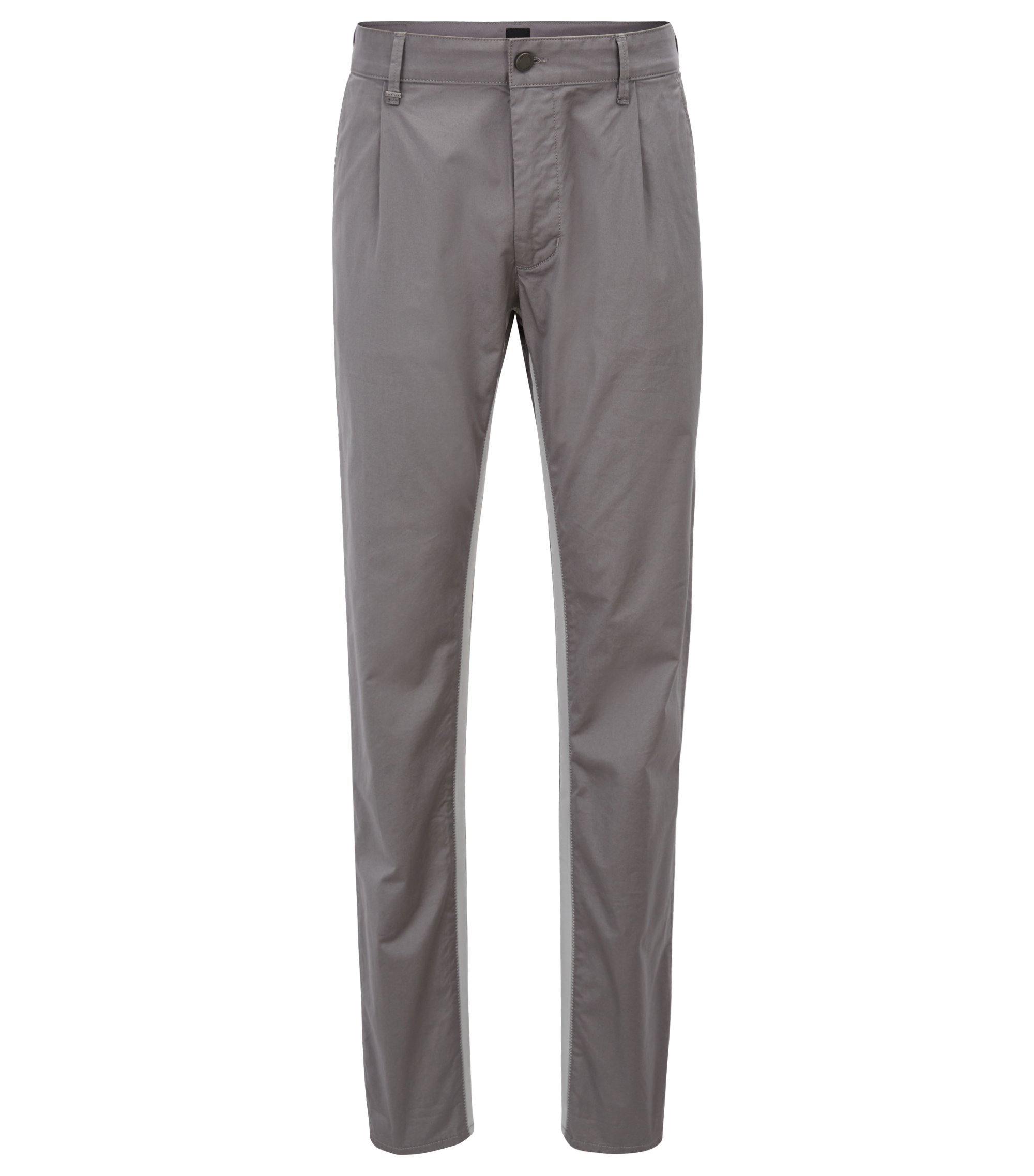 Relaxed-fit pants in stretch cotton with riptape detailing, Open Grey