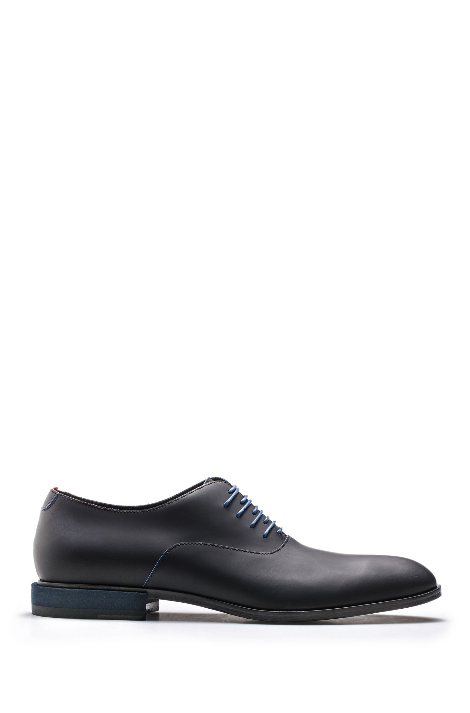 Italian-made rubberized calf leather Oxford shoes, Black