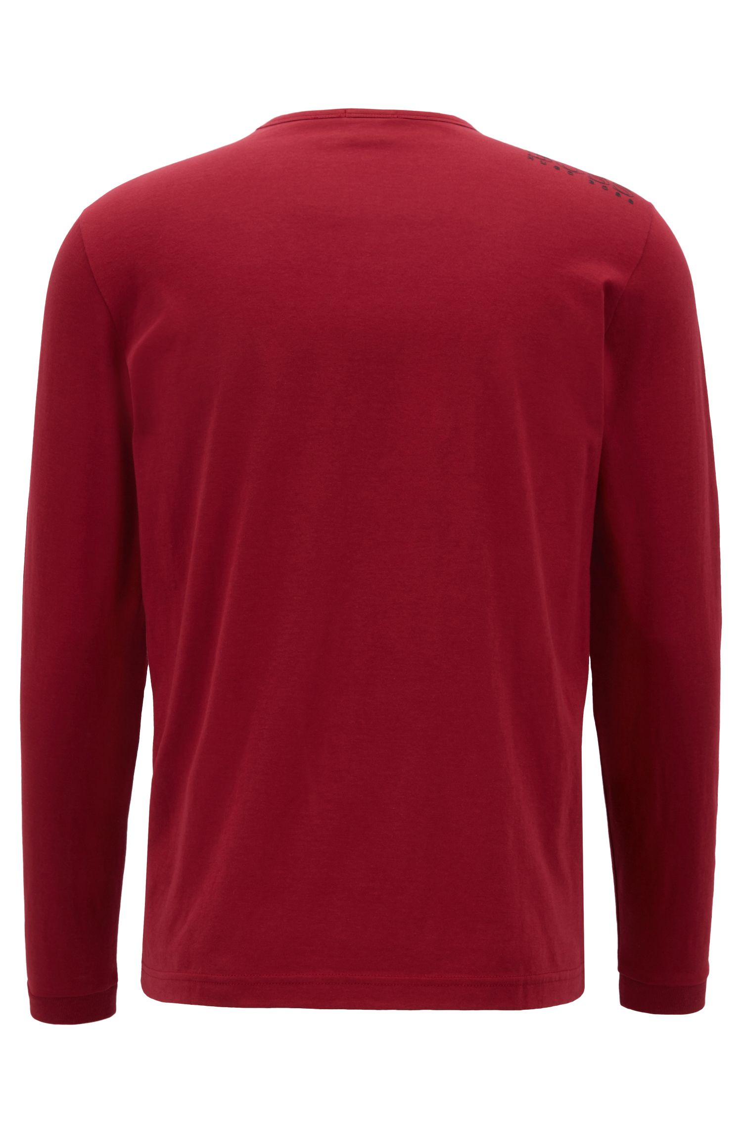 Long-sleeved cotton T-shirt with shoulder logo, Dark Red