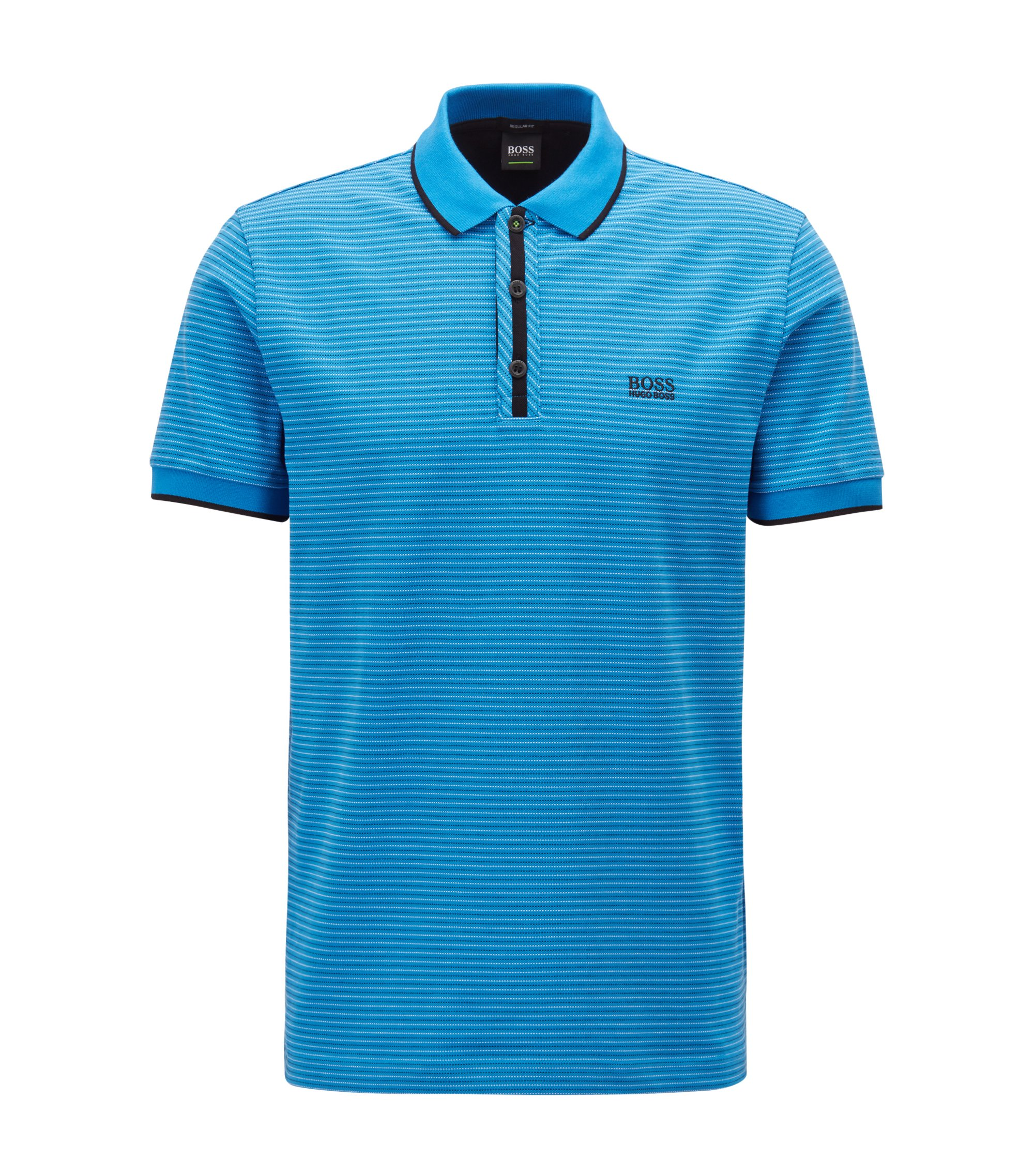 Stretch-cotton polo shirt with micro-dot jacquard, Blue
