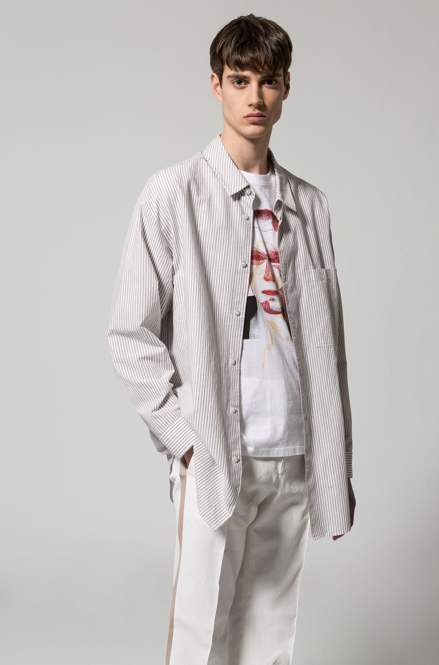 Runway Edition Linen Cotton Sport Shirt, Oversized Fit | Erilio , Light Beige