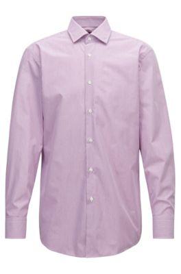 Sharp-fit shirt in cotton poplin with vertical stripe, Dark pink
