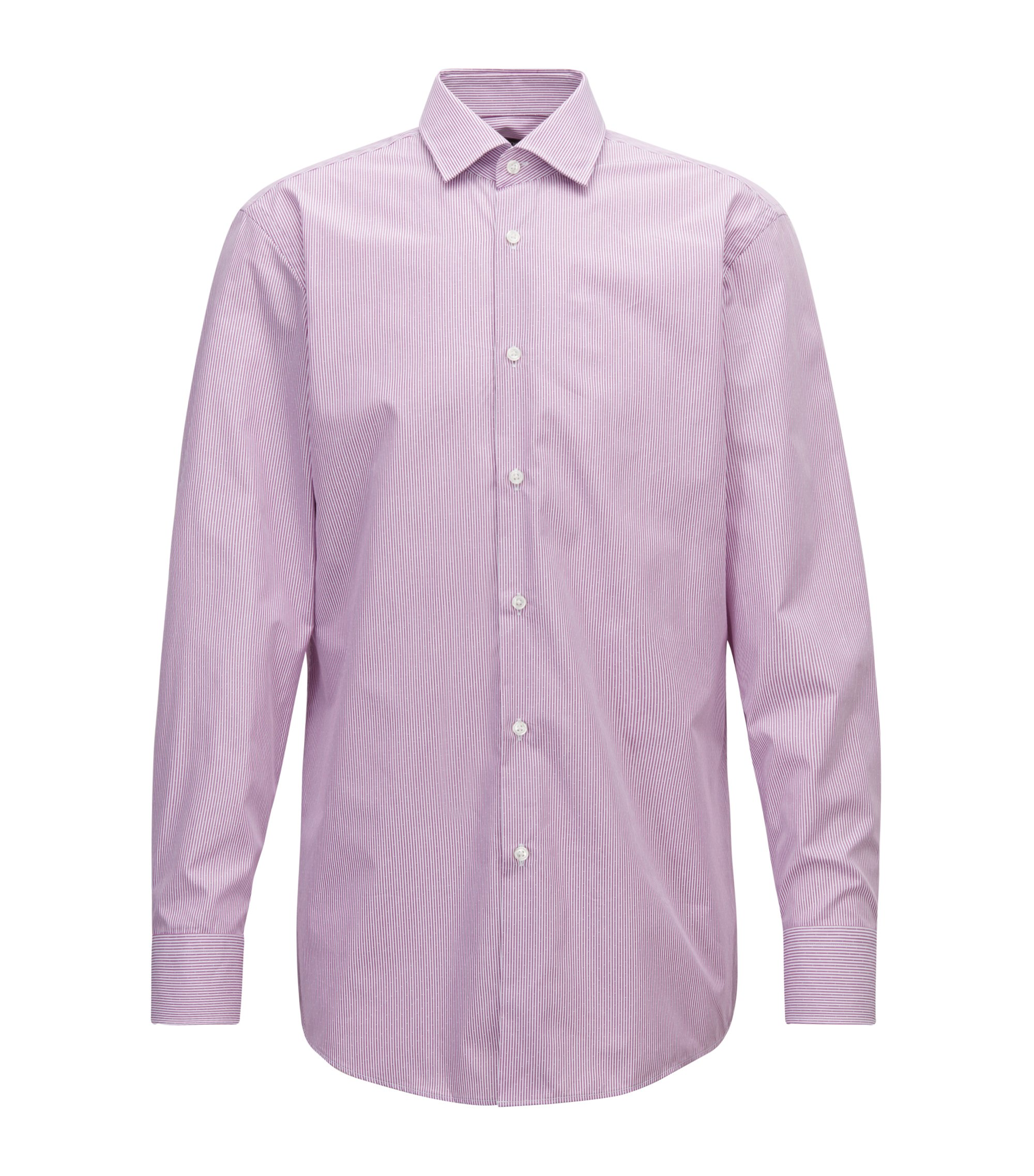 Slim-fit shirt in cotton poplin with vertical stripe, Dark pink