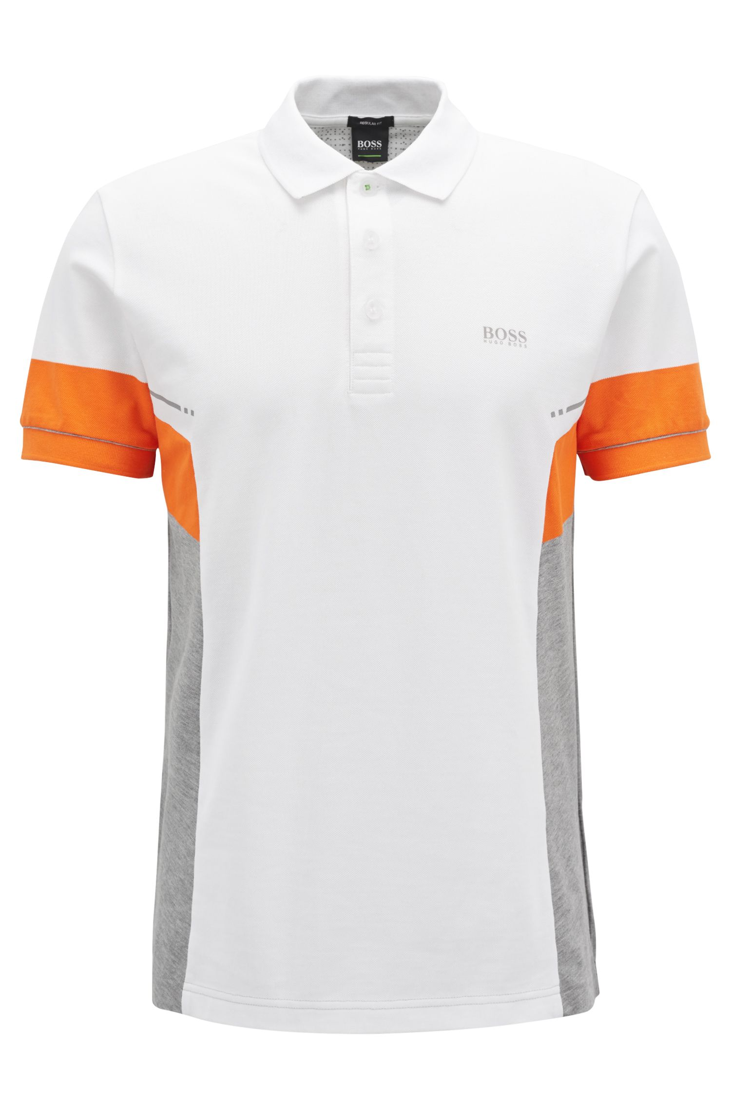 Colorblock polo shirt in Pima cotton, White