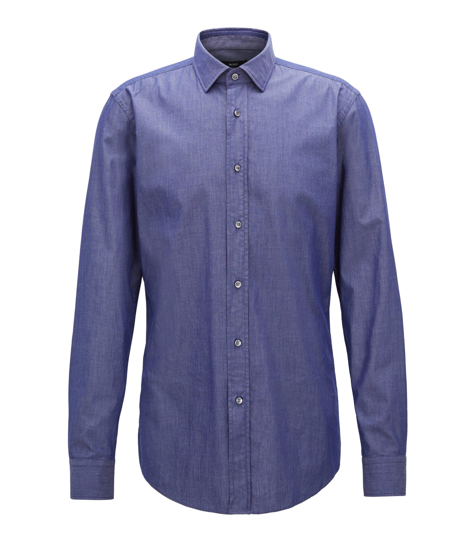 Slim-fit shirt in denim-inspired stretch twill, Dark Blue