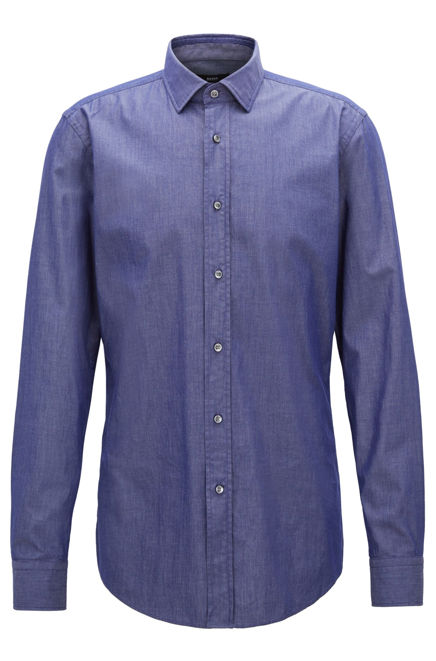 Slim-fit shirt in denim-inspired stretch twill