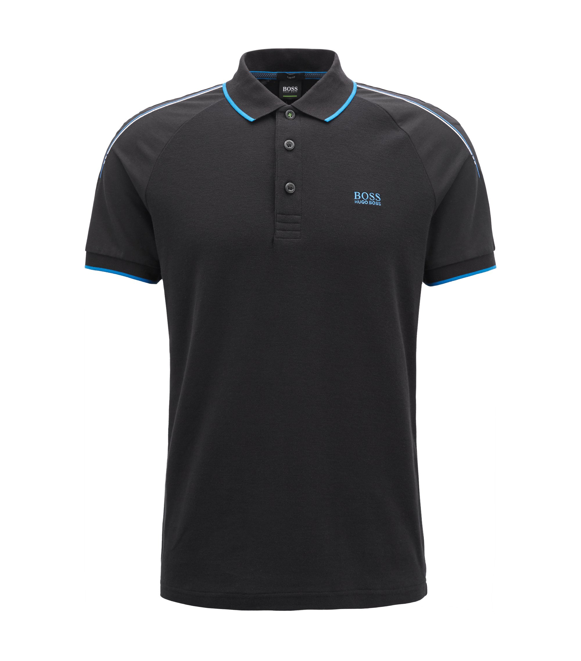 Slim-fit polo shirt in stretch waffle piqué cotton, Black