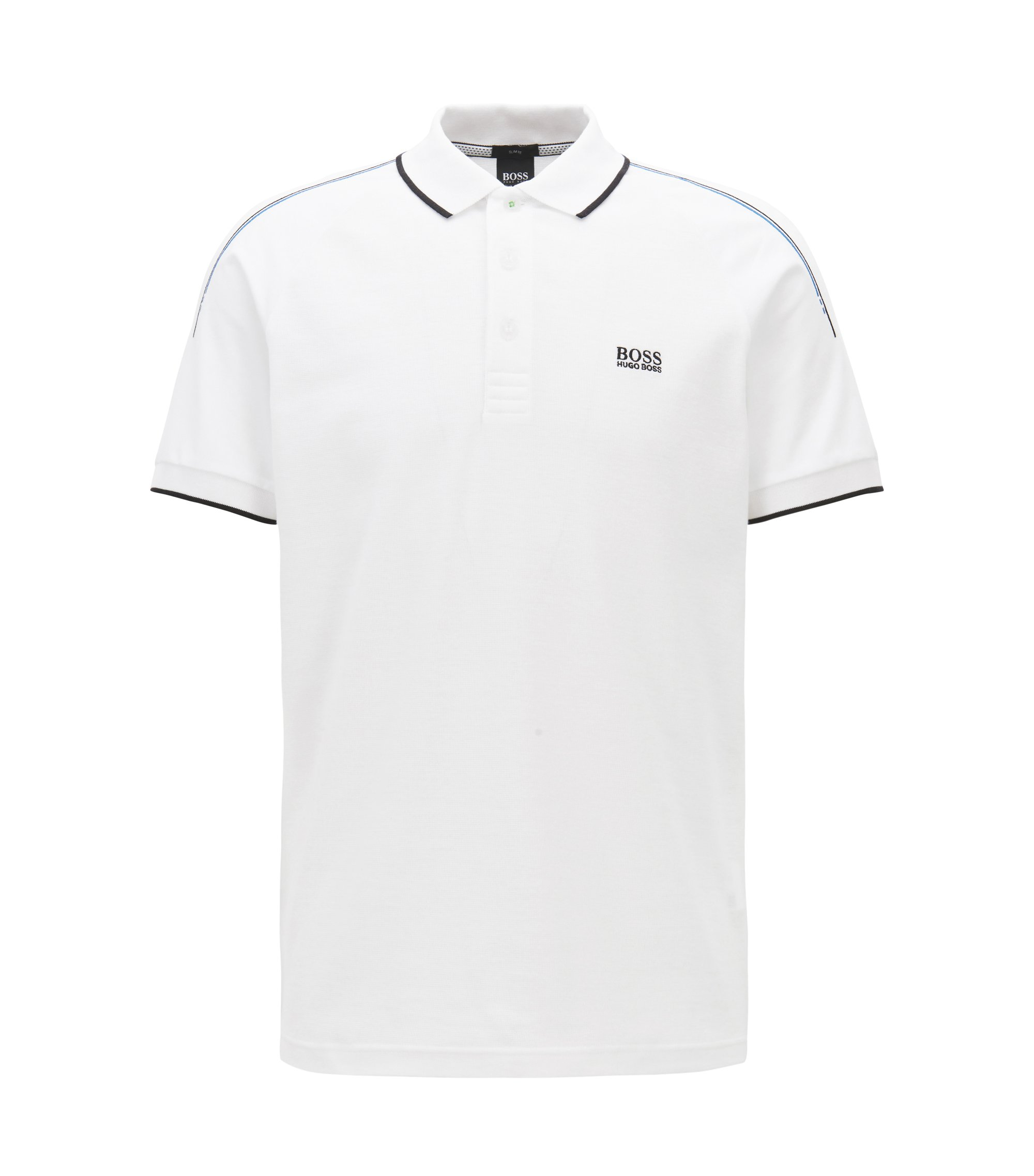 Slim-fit polo shirt in stretch waffle piqué cotton, White