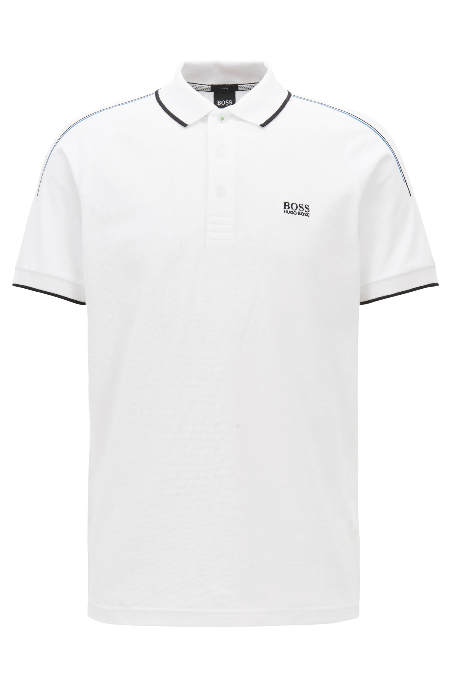 Slim-fit polo shirt in stretch waffle piqué cotton