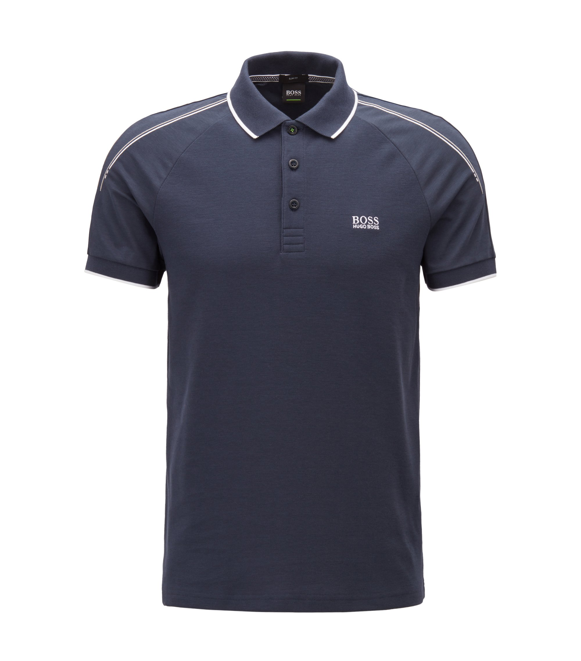 Slim-fit polo shirt in stretch waffle piqué cotton, Dark Blue