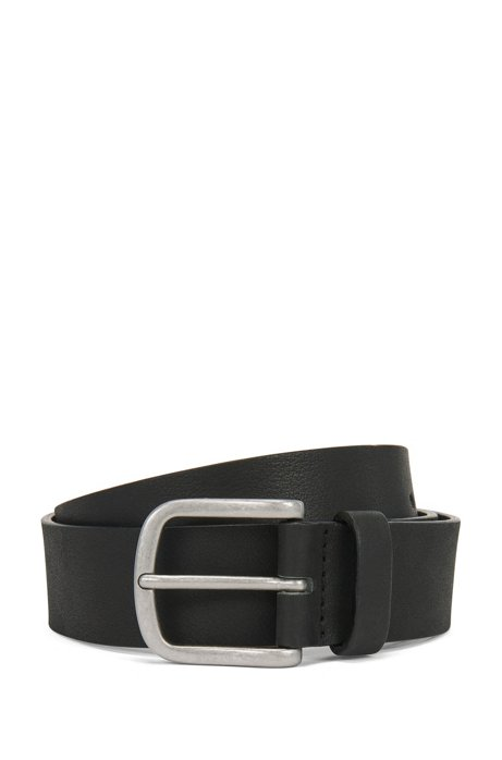 Smooth-leather belt with brushed-silver buckle, Dark Blue