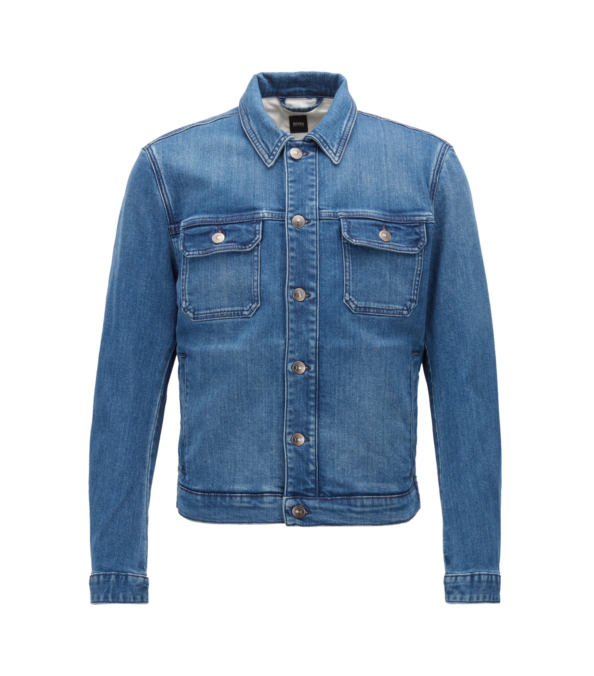 Slim-fit denim jacket with embroidery detail, Blue