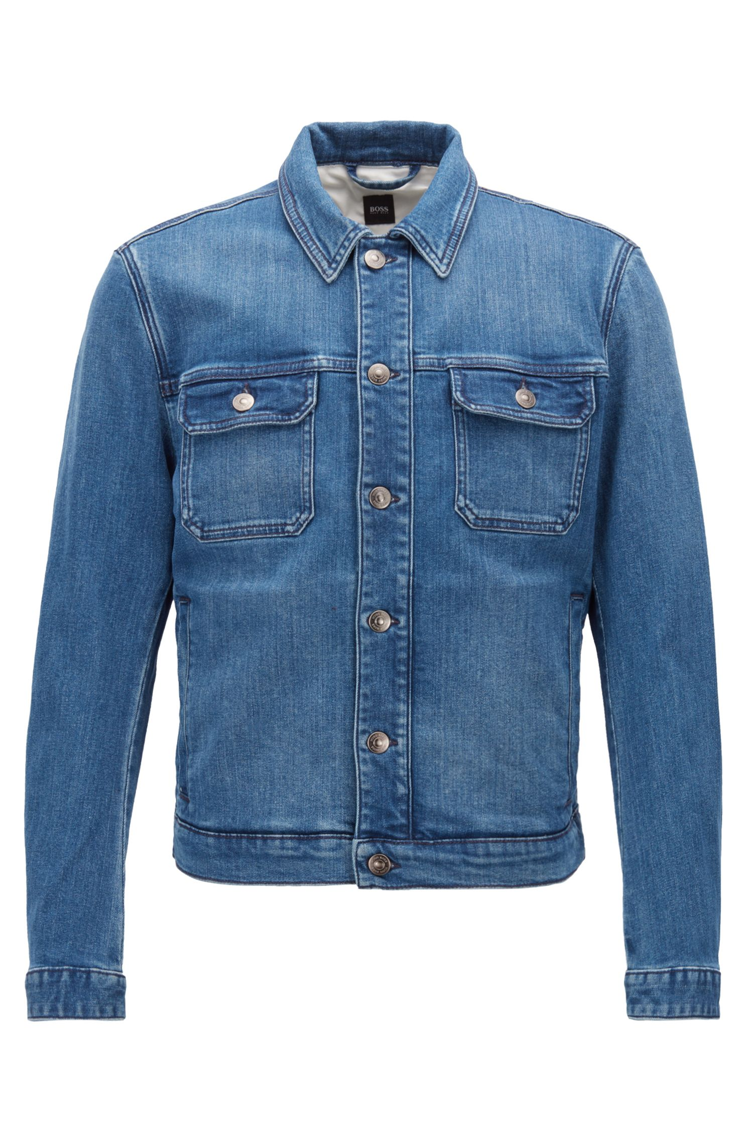 Slim-fit denim jacket with embroidery detail