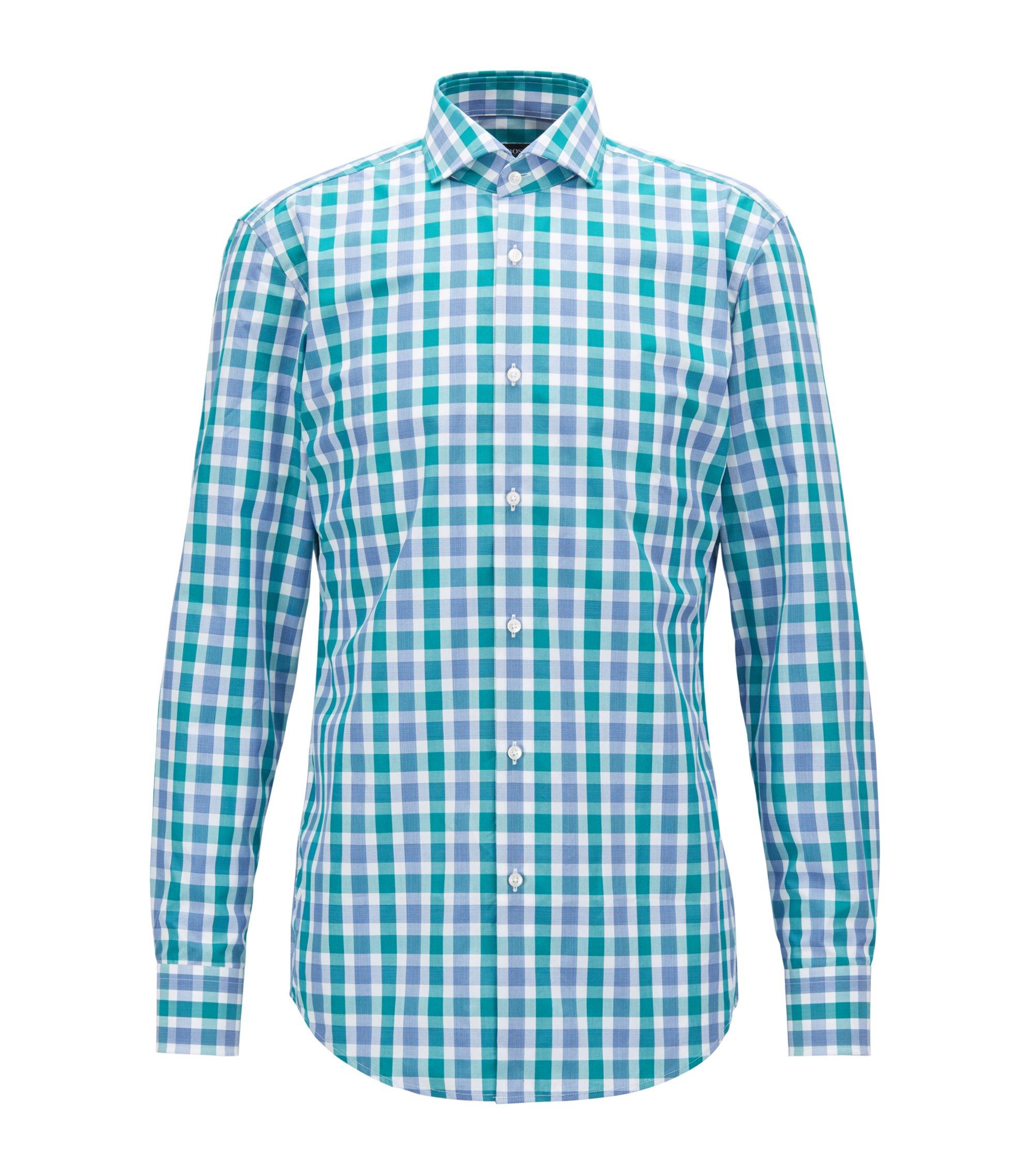 Slim-fit shirt in Vichy-check cotton poplin, Green