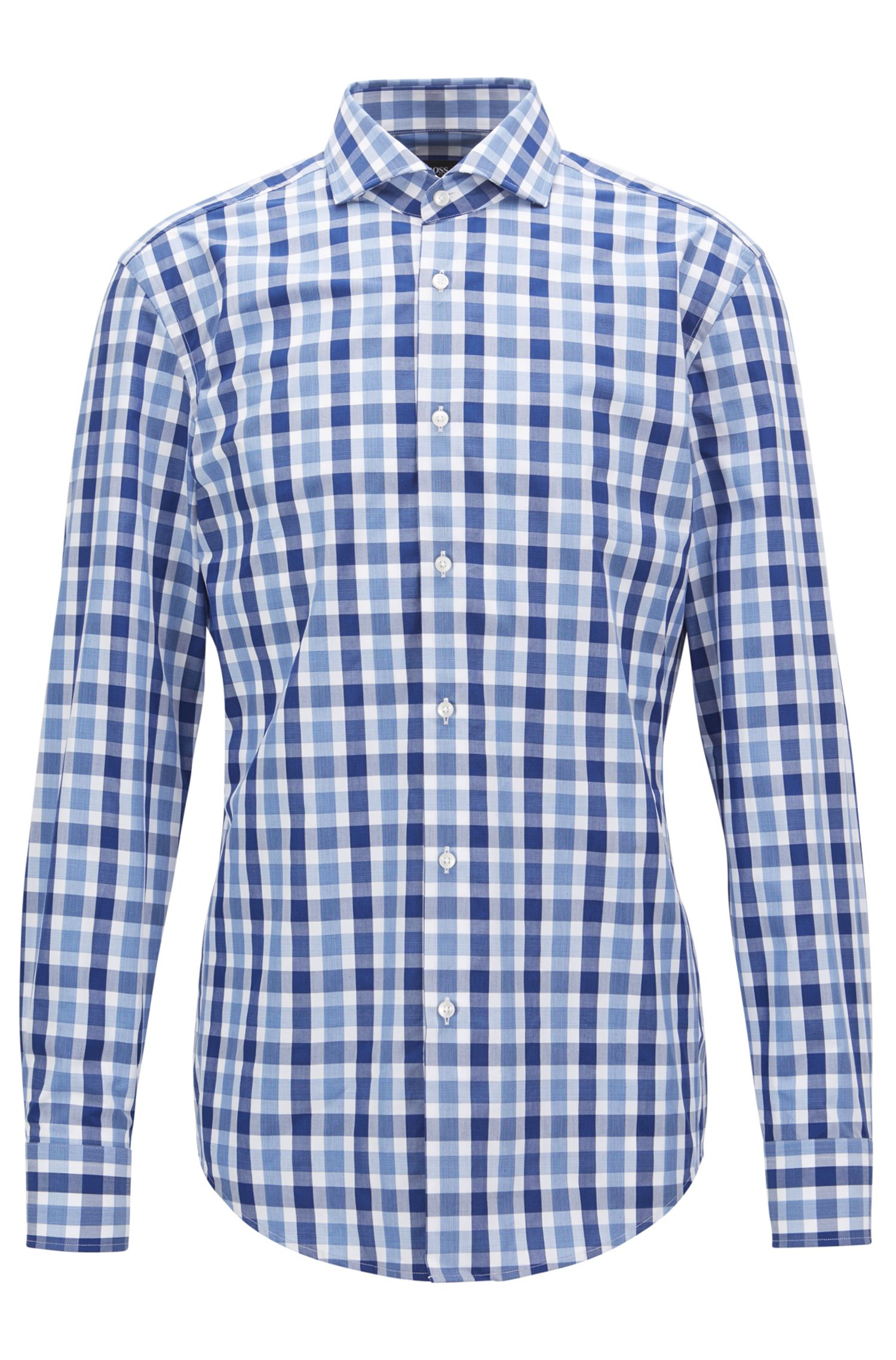 Slim-fit shirt in Vichy-check cotton poplin, Open Blue
