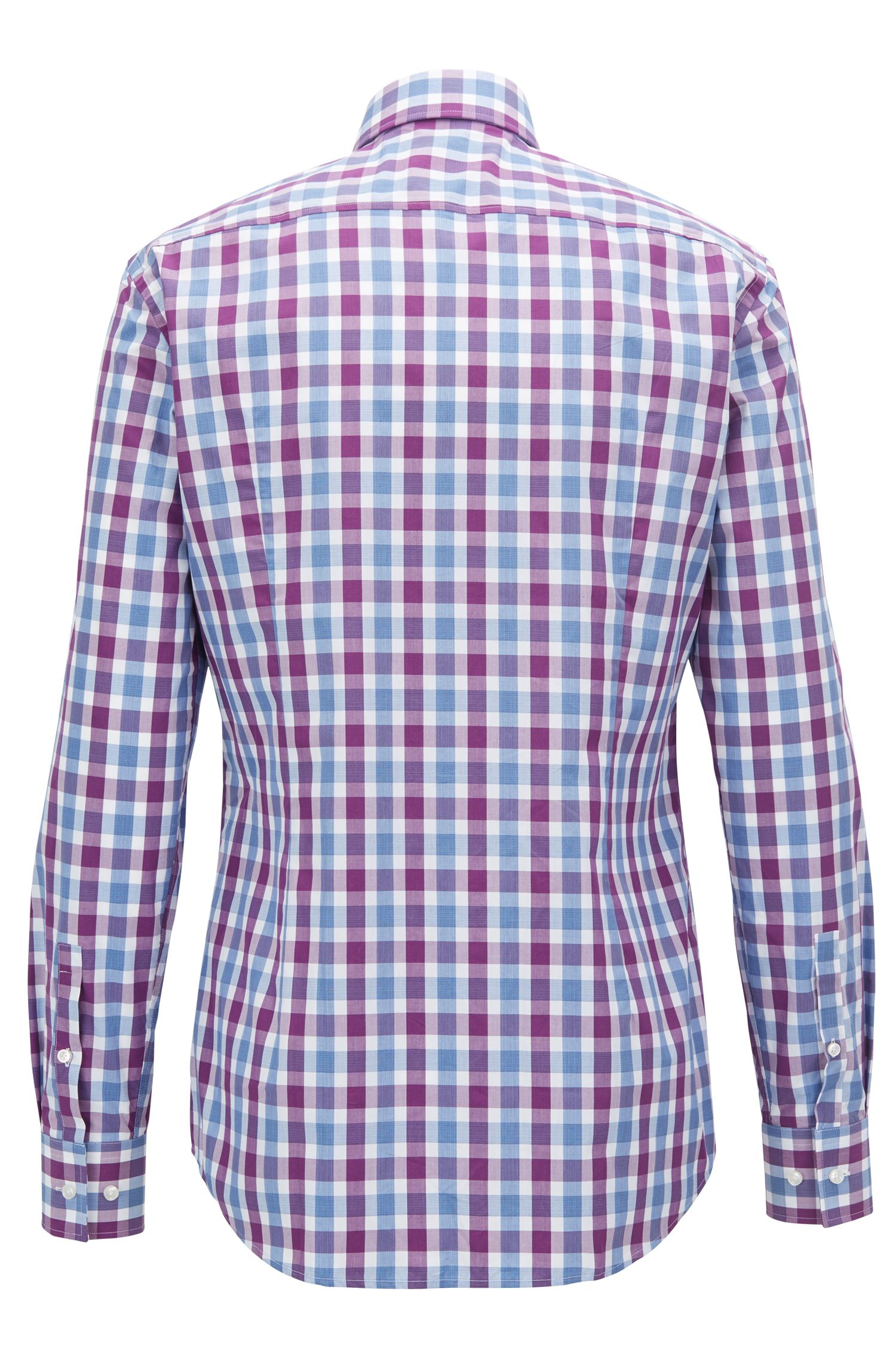 Slim-fit shirt in Vichy-check cotton poplin, Dark pink