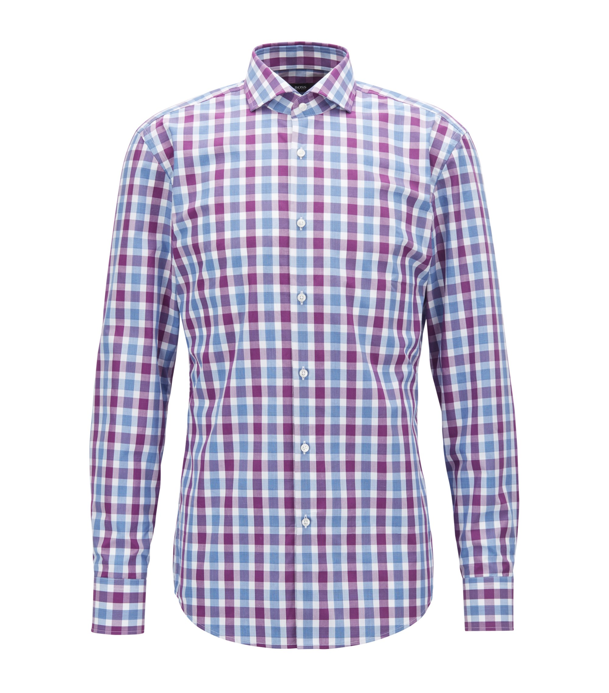 Slim-fit shirt in Vichy-check cotton poplin, Dark pink