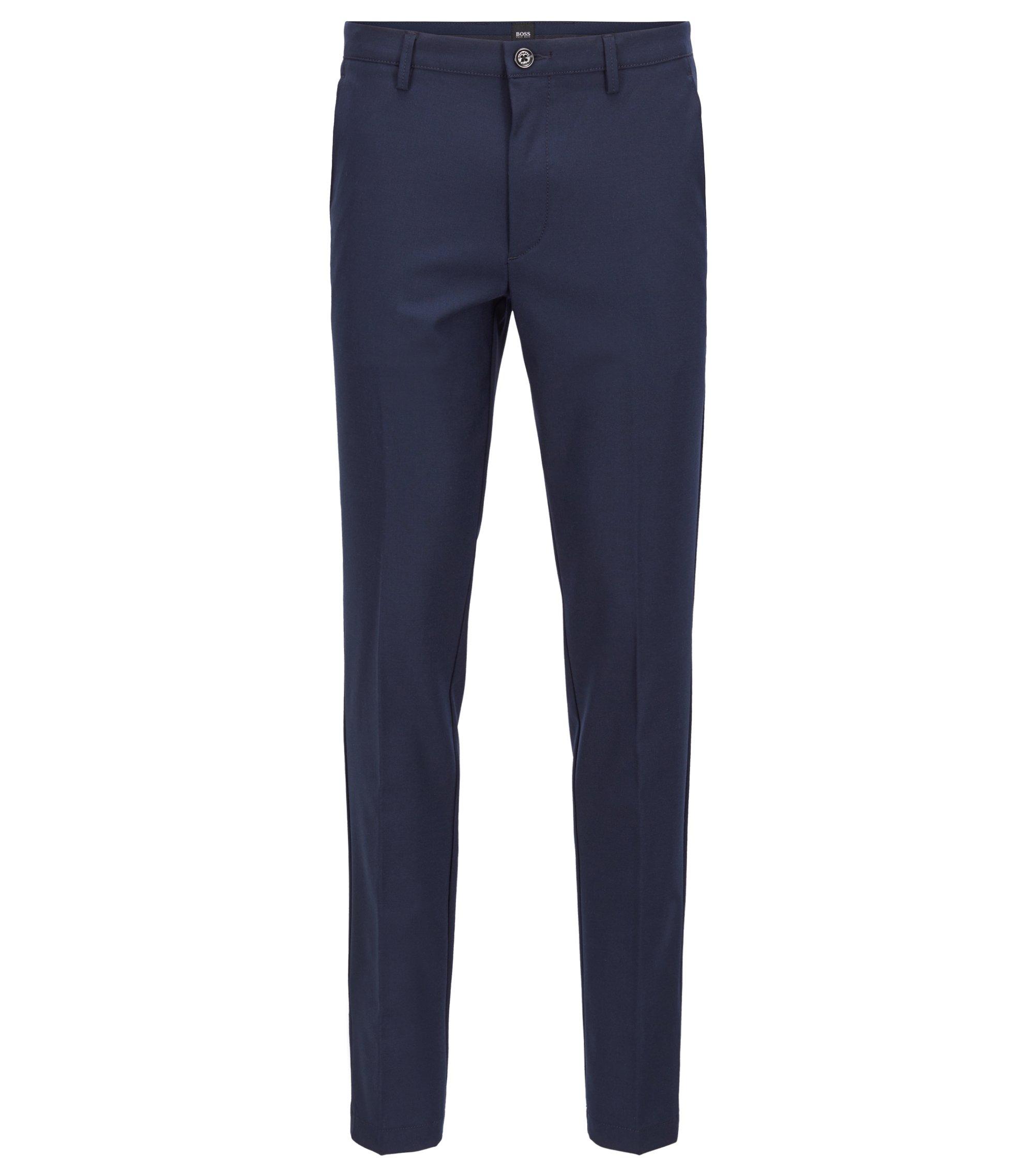 Slim-fit chinos in high-twist mercerized stretch fabric, Dark Blue