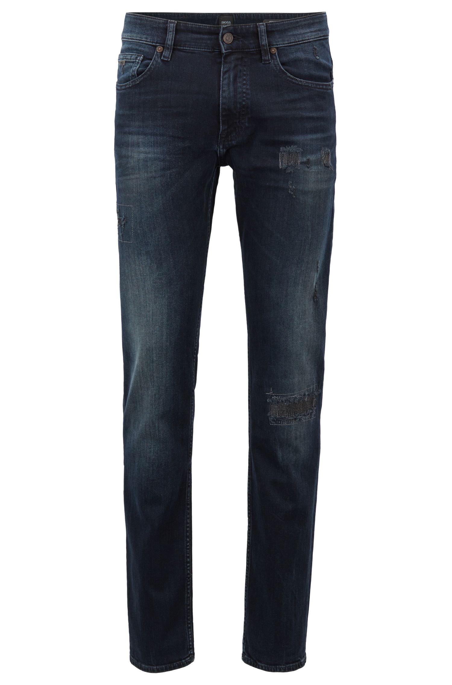 Slim-fit jeans in destroyed blue-black denim, Dark Blue