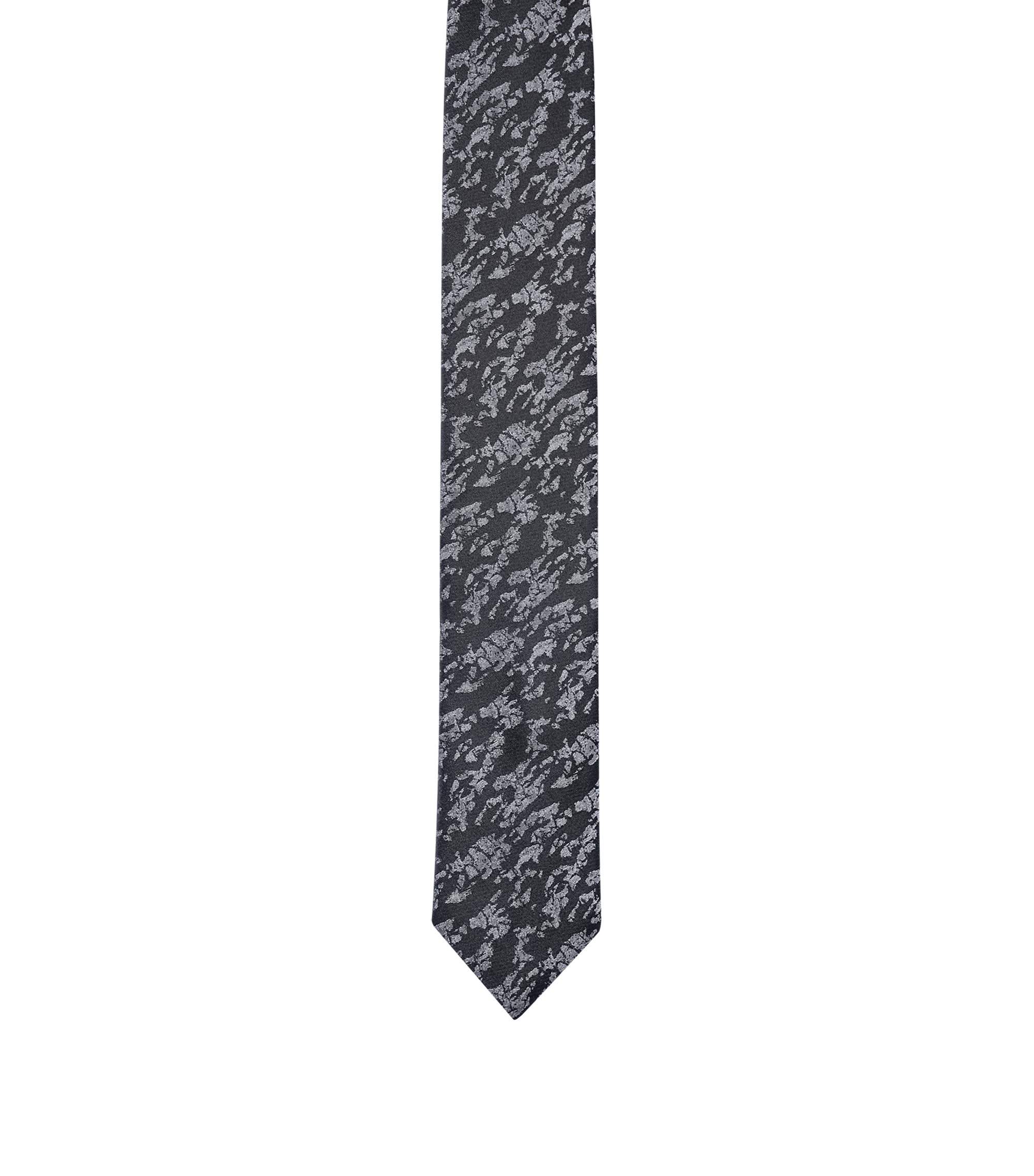 Patterned tie in pure silk jacquard, Open Grey