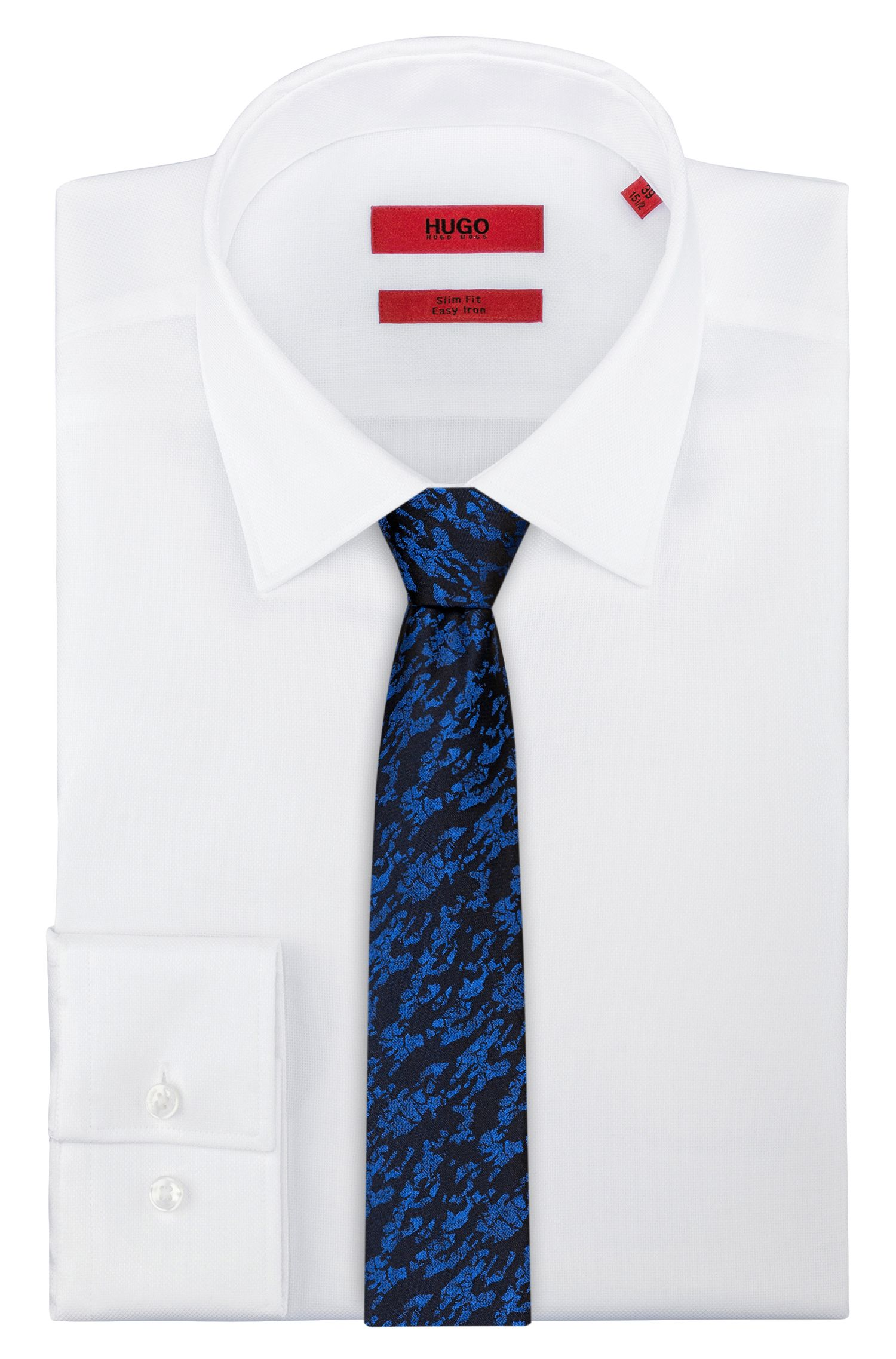 Patterned tie in pure silk jacquard, Open Blue