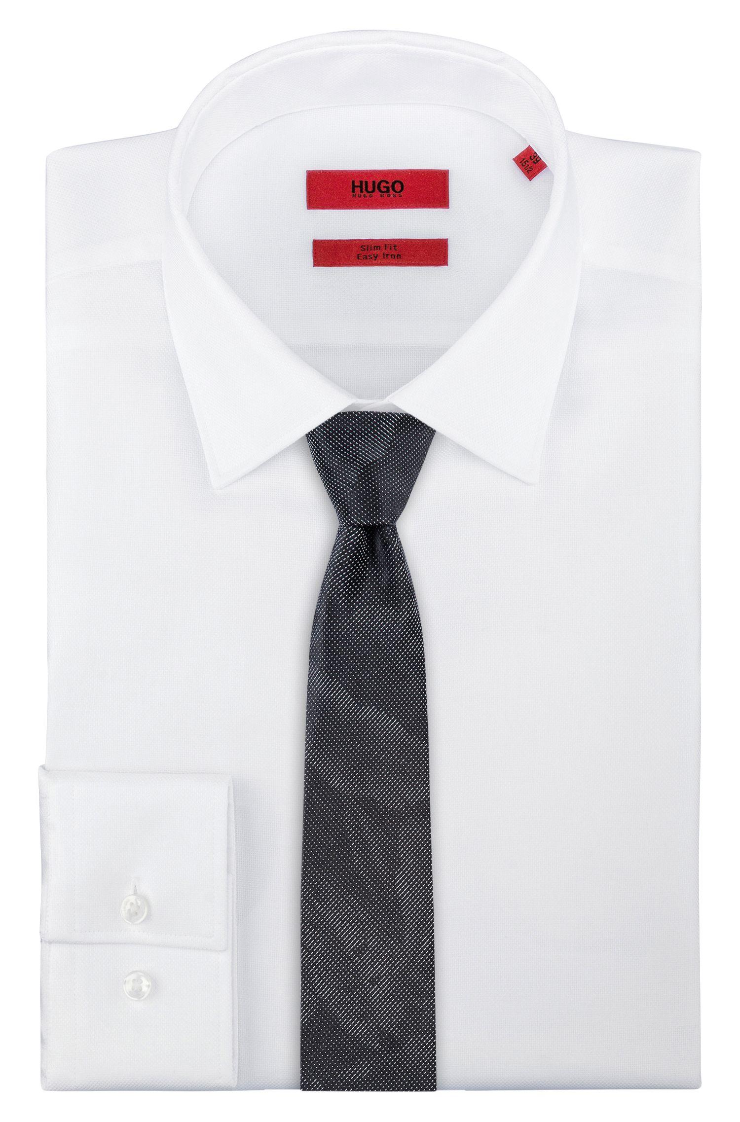 Leaf-patterned tie in silk jacquard, Black