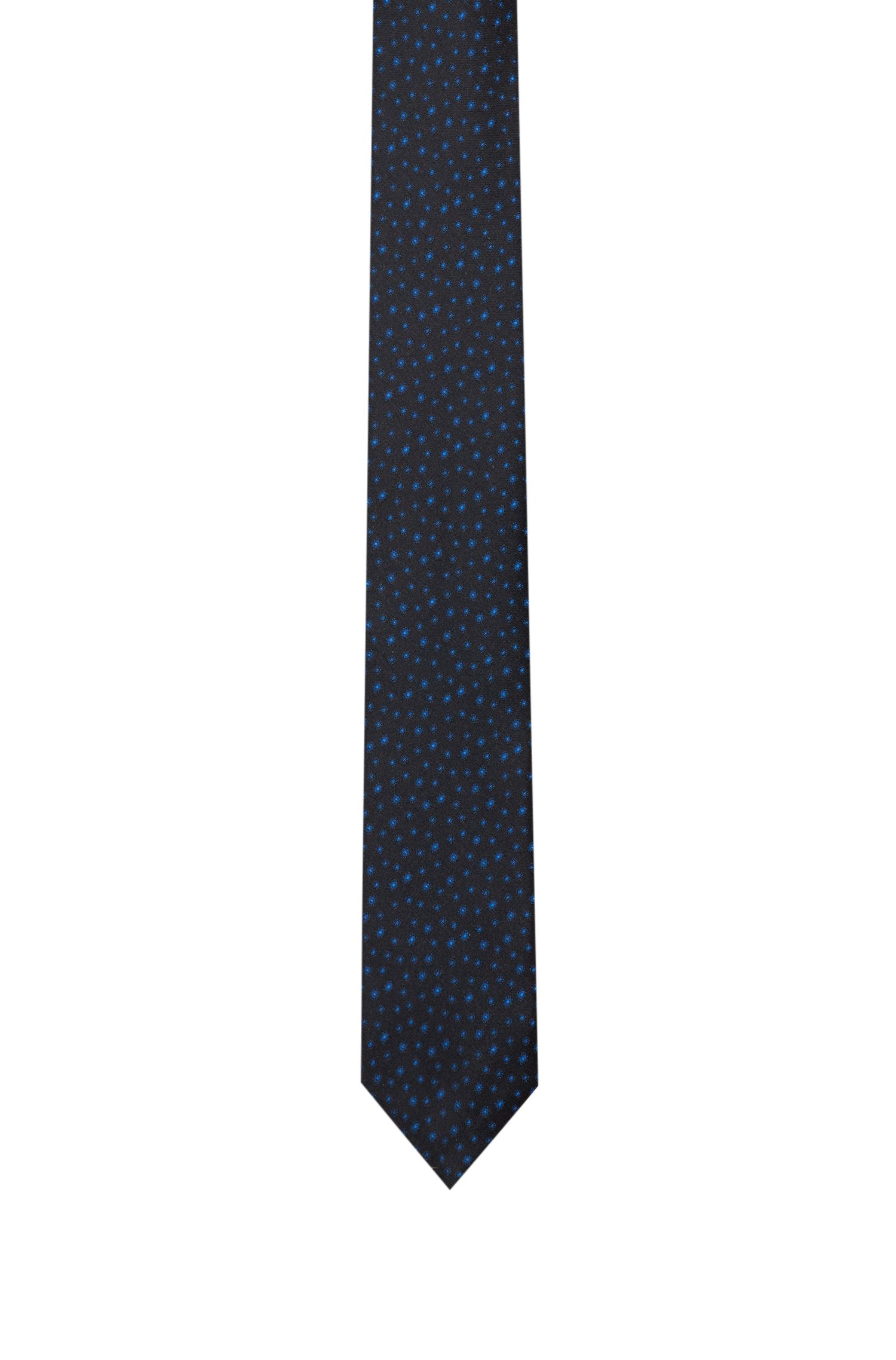 Leaf-patterned tie in silk jacquard, Dark Blue