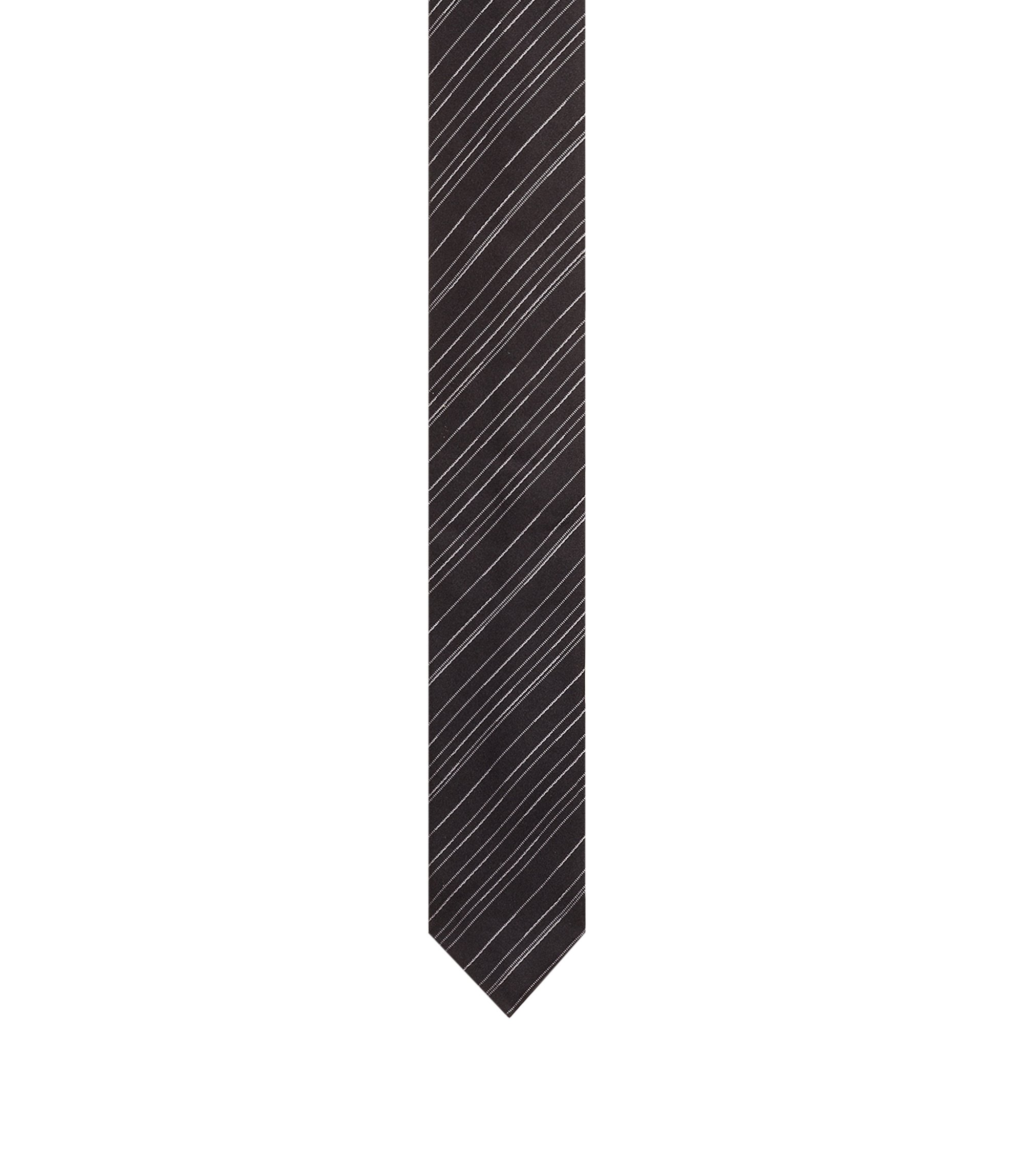 Slimline tie in silk jacquard with diagonal stripes, Black
