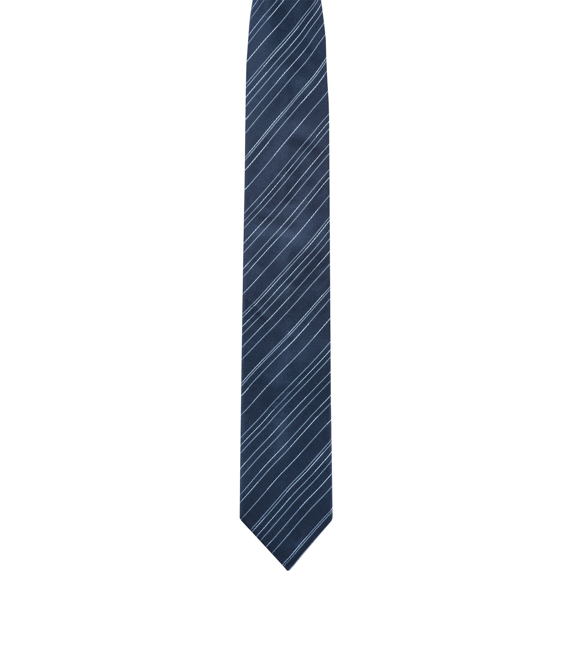 Slimline tie in silk jacquard with diagonal stripes, Dark Blue
