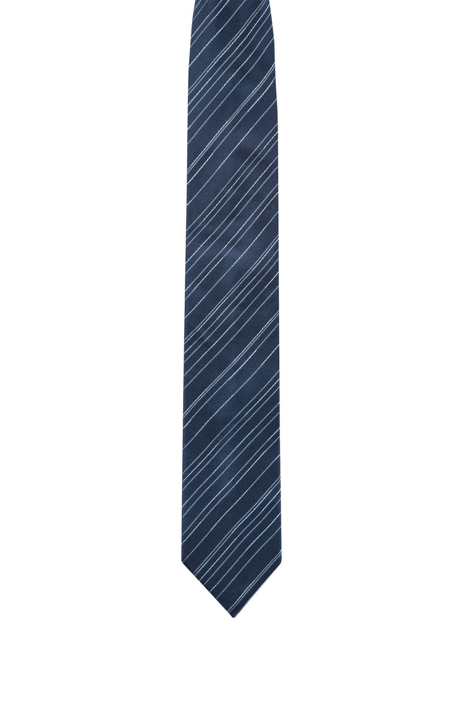 Slimline tie in silk jacquard with diagonal stripes, Dark Blue