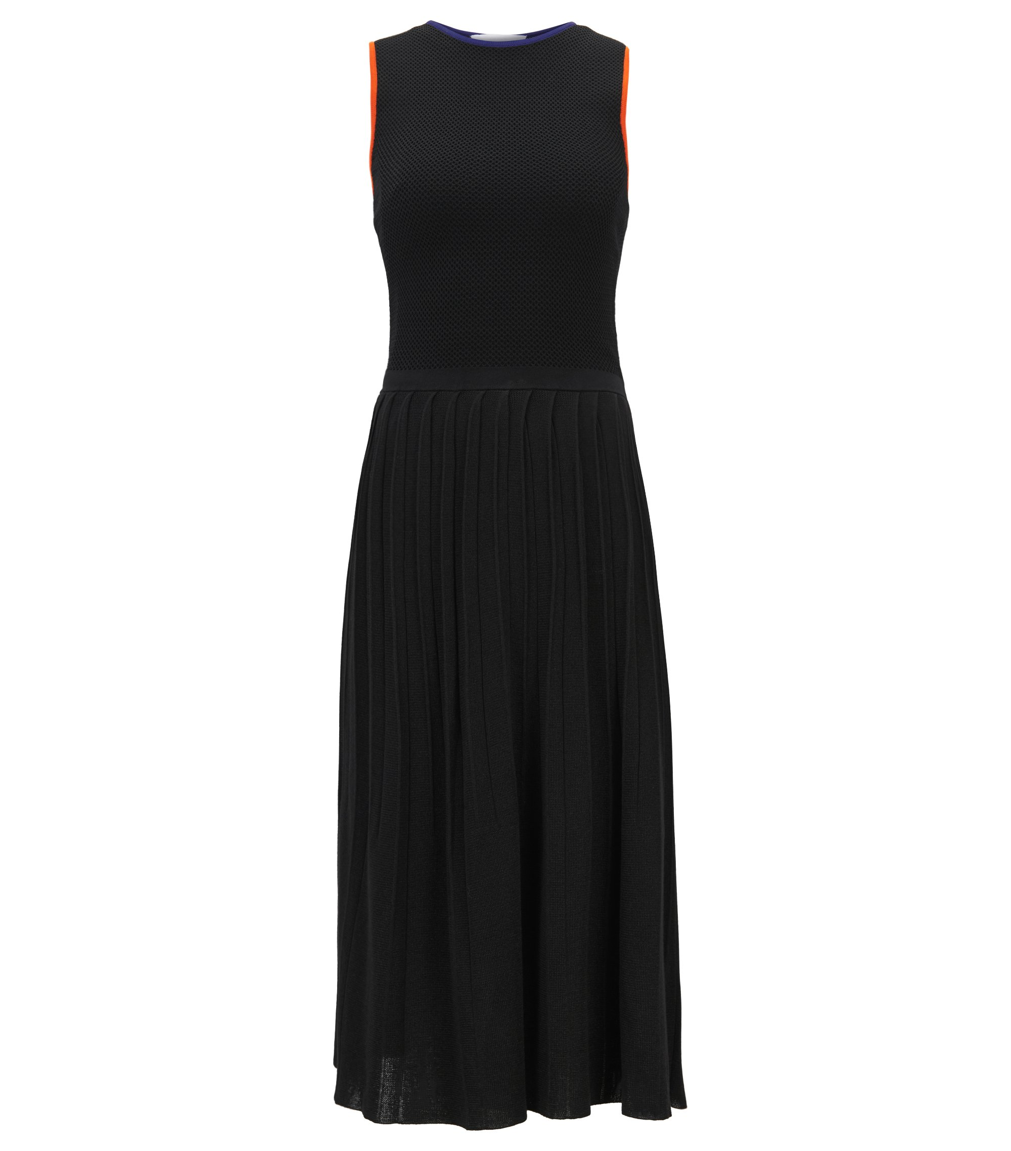 Sleeveless knitted dress with pleated skirt, Black