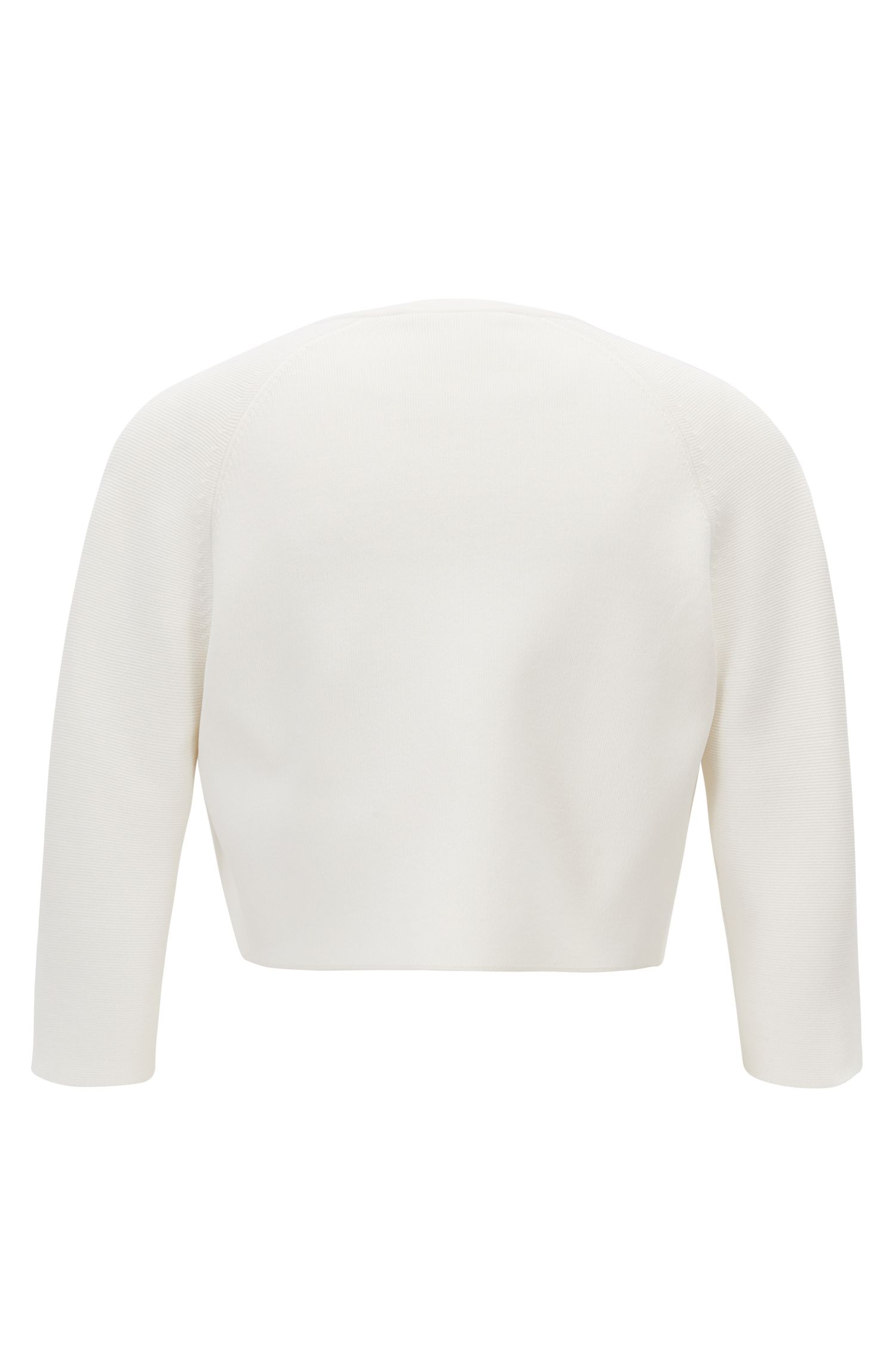 Regular-fit cropped jacket in stretch yarn, Natural