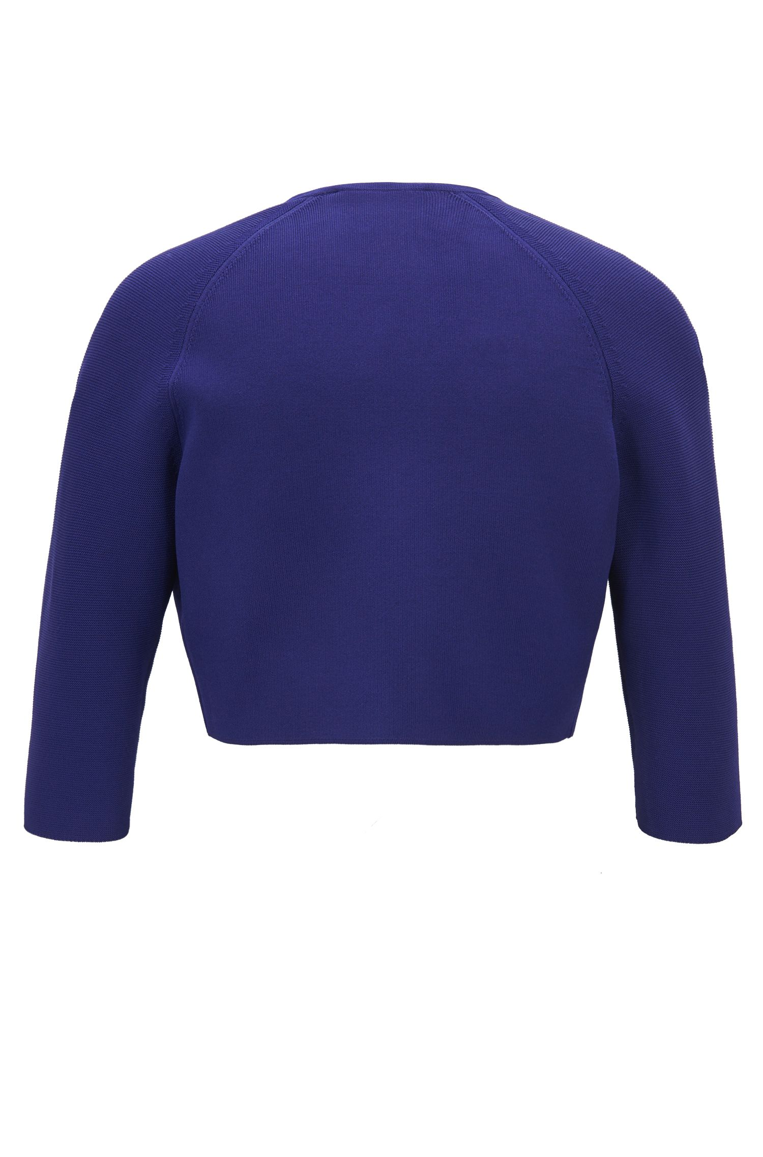Regular-fit cropped jacket in stretch yarn, Open Purple